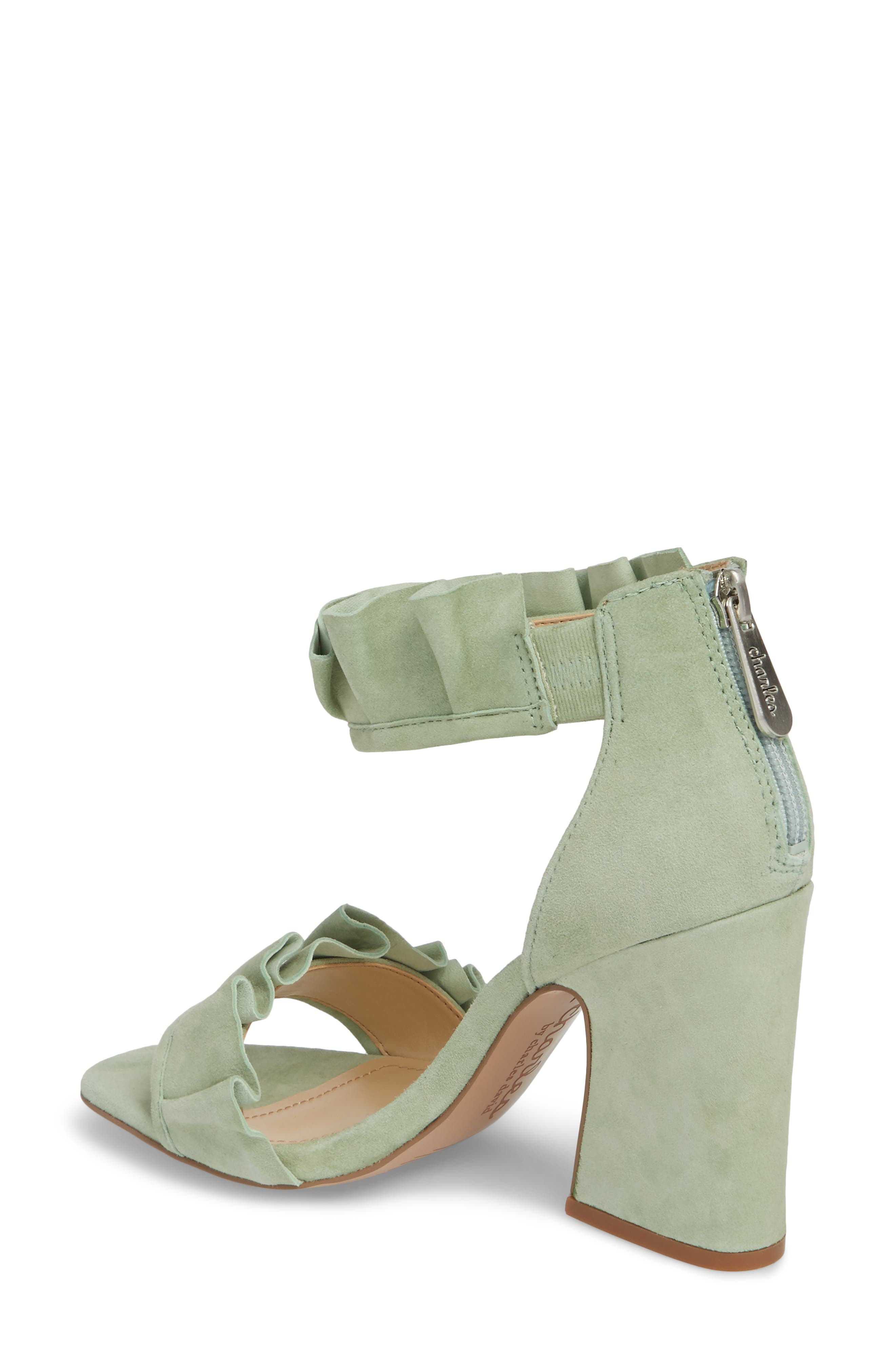 Haley Ruffle Sandal,                             Alternate thumbnail 2, color,                             MINT SUEDE