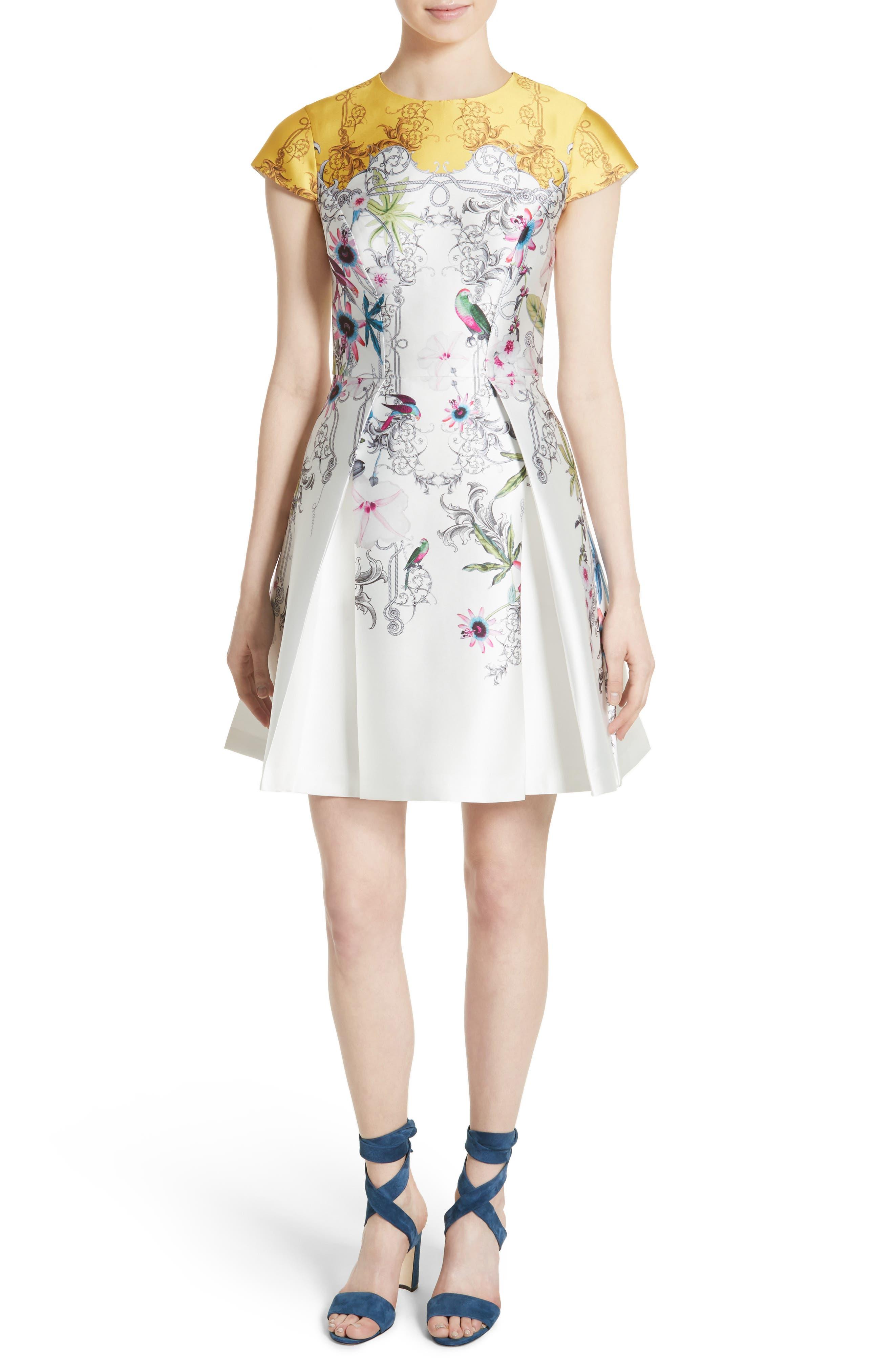 Reliat Passion Flower Cap Sleeve Dress,                             Main thumbnail 1, color,                             100