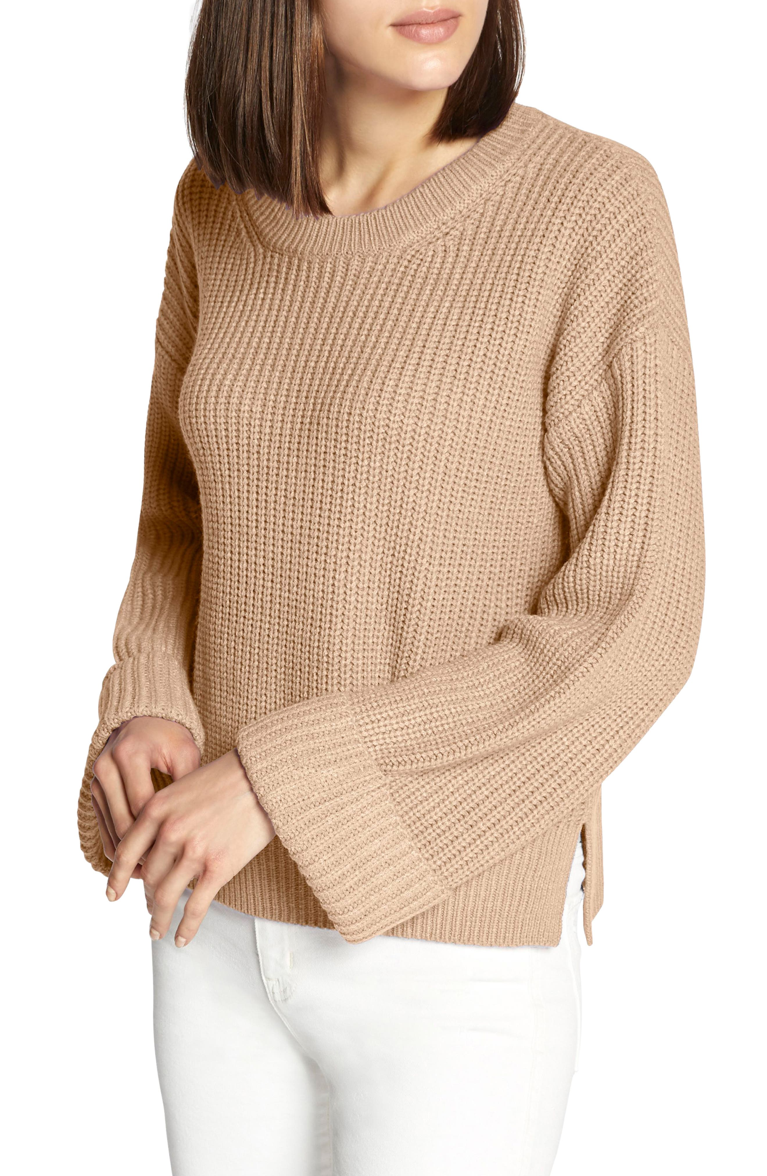 Bell Sleeve Shaker Sweater,                             Main thumbnail 1, color,                             CHAMPAGNE
