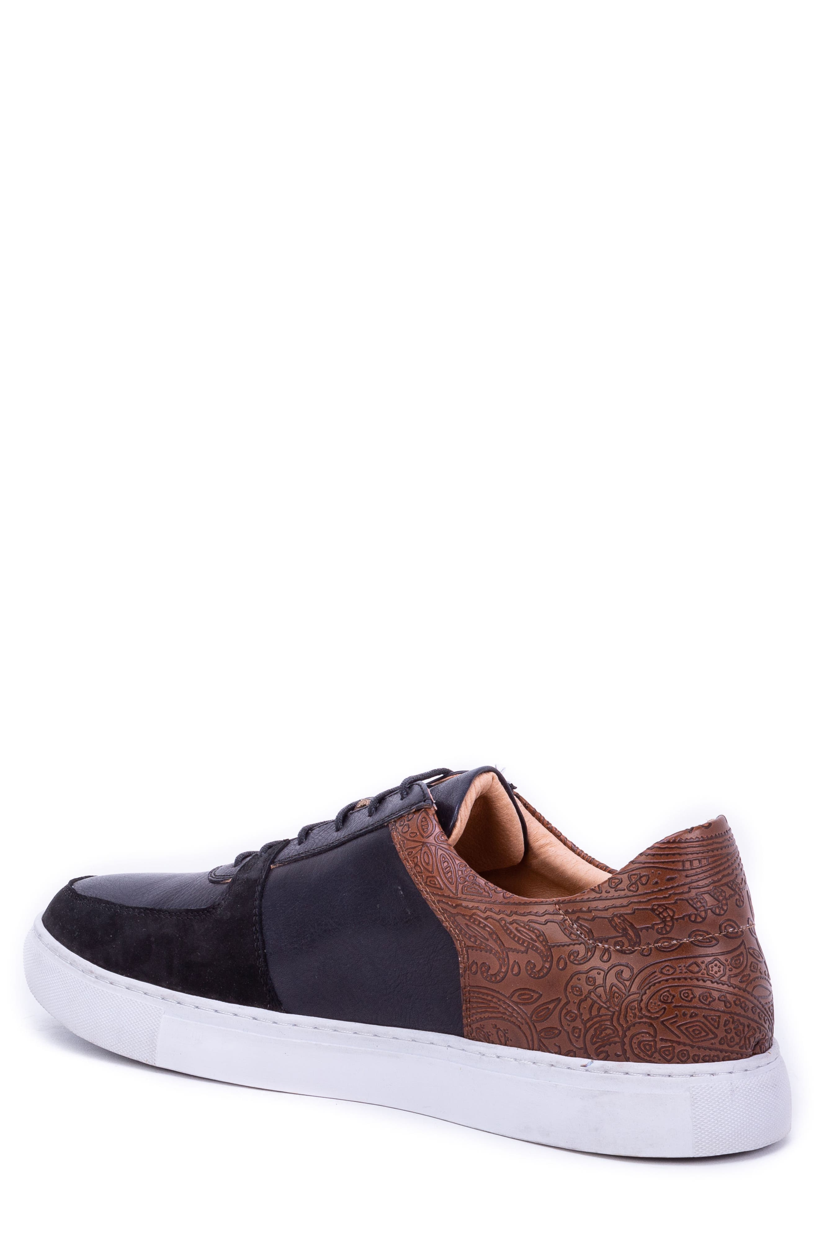 Chadwick Paisley Tooled Sneaker,                             Alternate thumbnail 2, color,                             BLACK LEATHER/ SUEDE