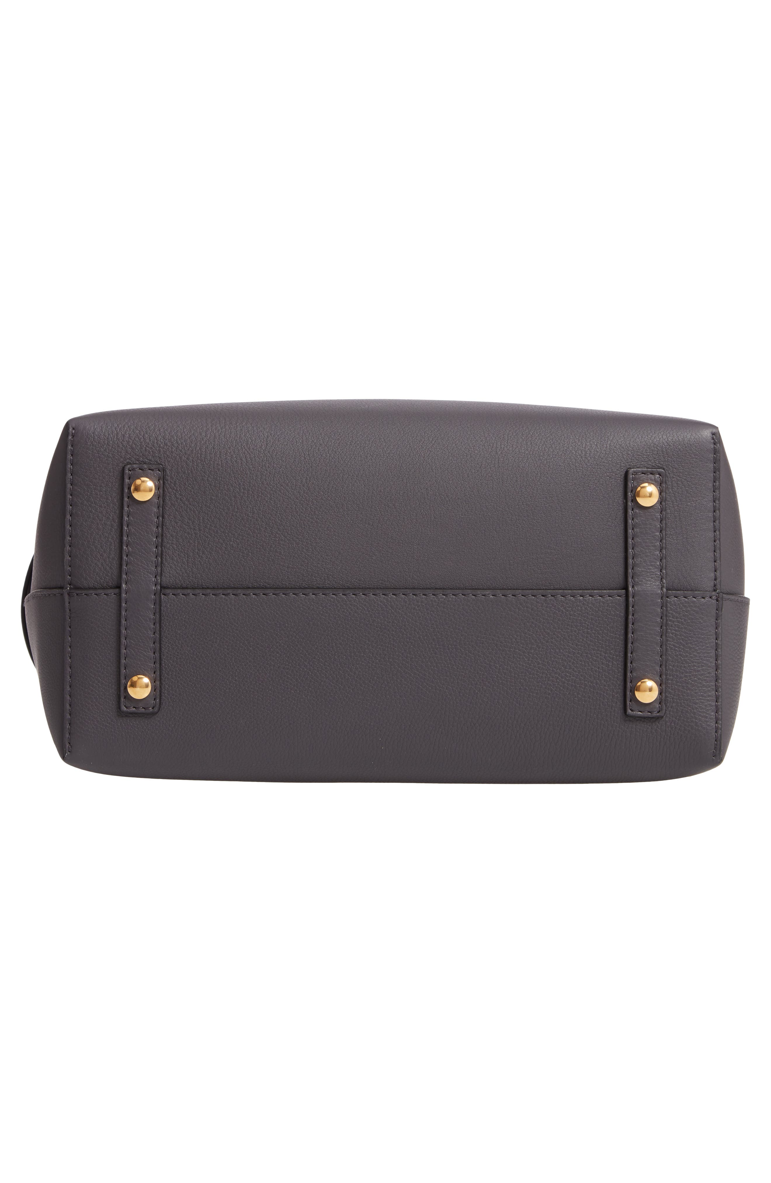 Medium Leather Belted Bag,                             Alternate thumbnail 6, color,                             CHARCOAL GREY