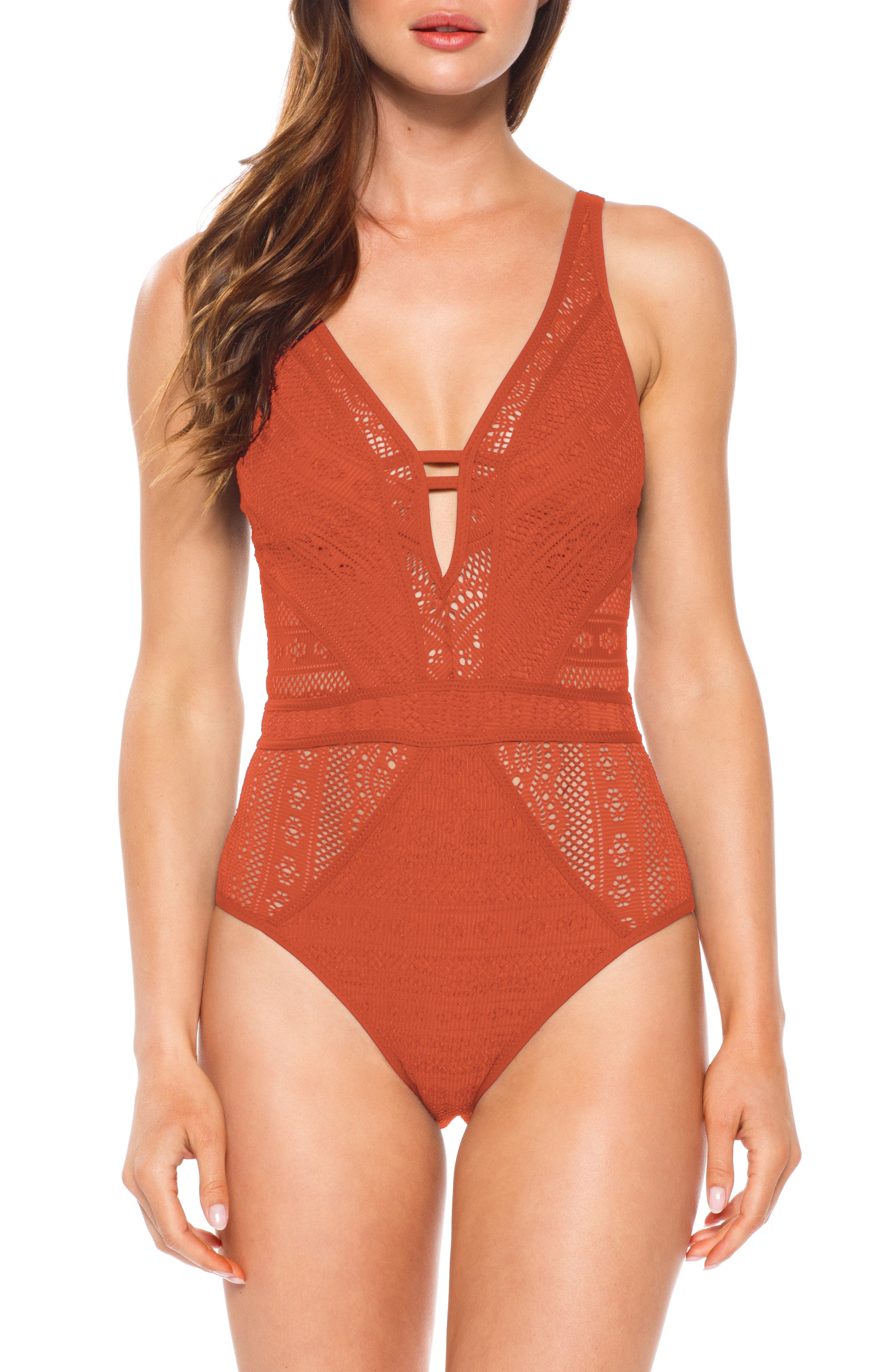 Becca Show & Tell One-Piece Swimsuit, Brown