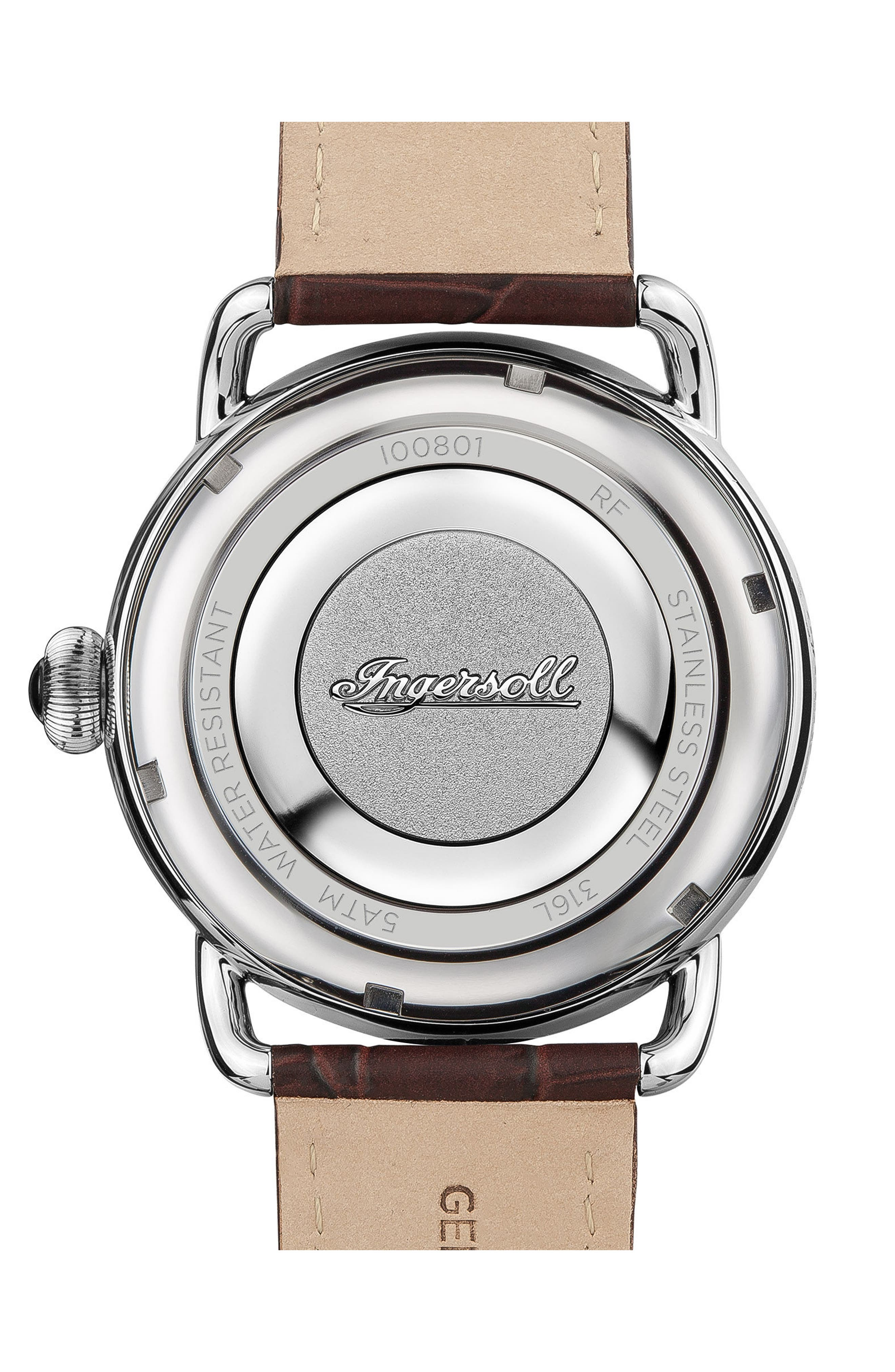 Ingersoll New England Leather Strap Watch, 42mm,                             Alternate thumbnail 7, color,
