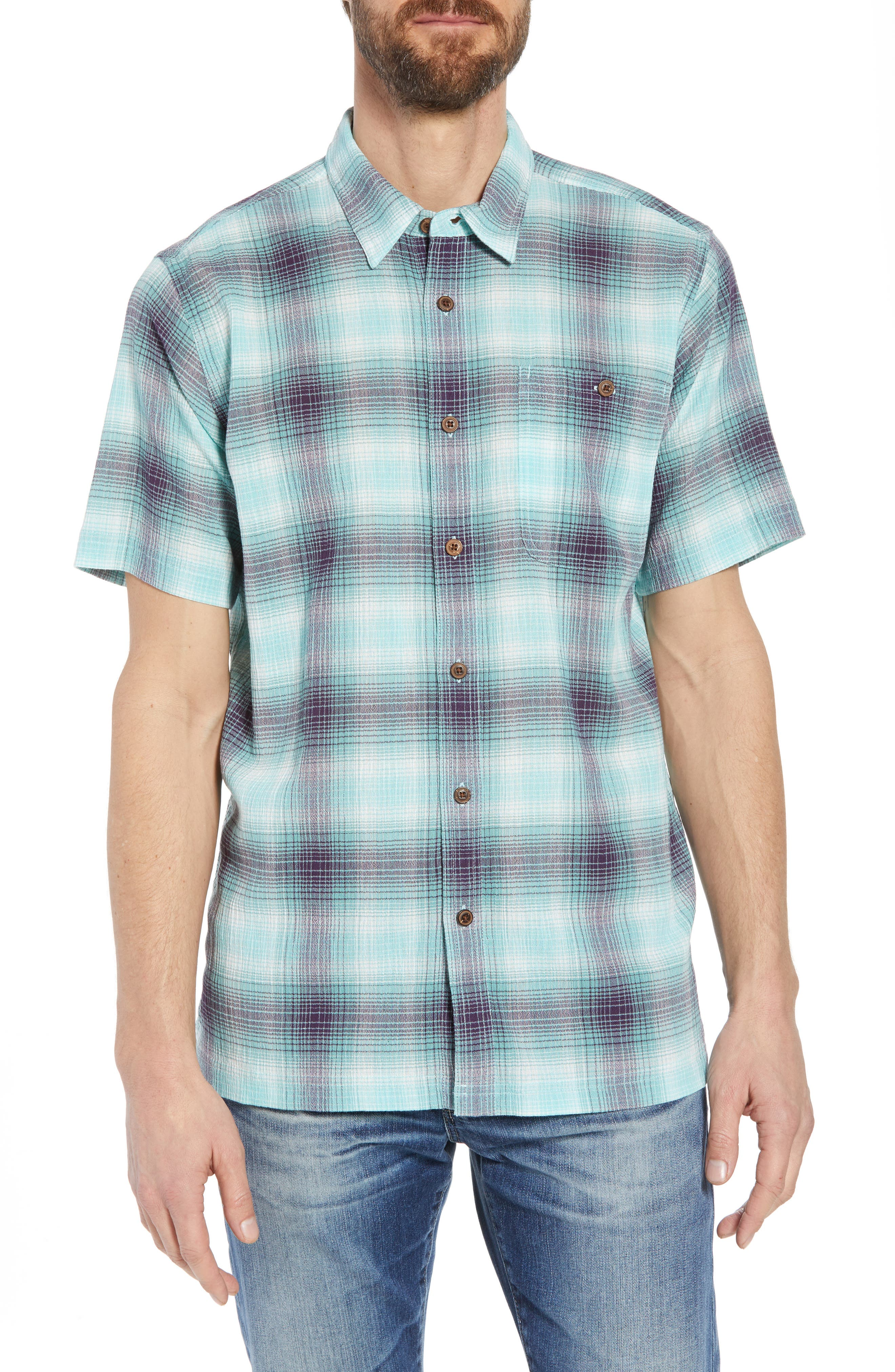 'A/C<sup>®</sup>' Regular Fit Organic Cotton Short Sleeve Sport Shirt,                             Main thumbnail 1, color,                             COSTA/ BERYL GREEN