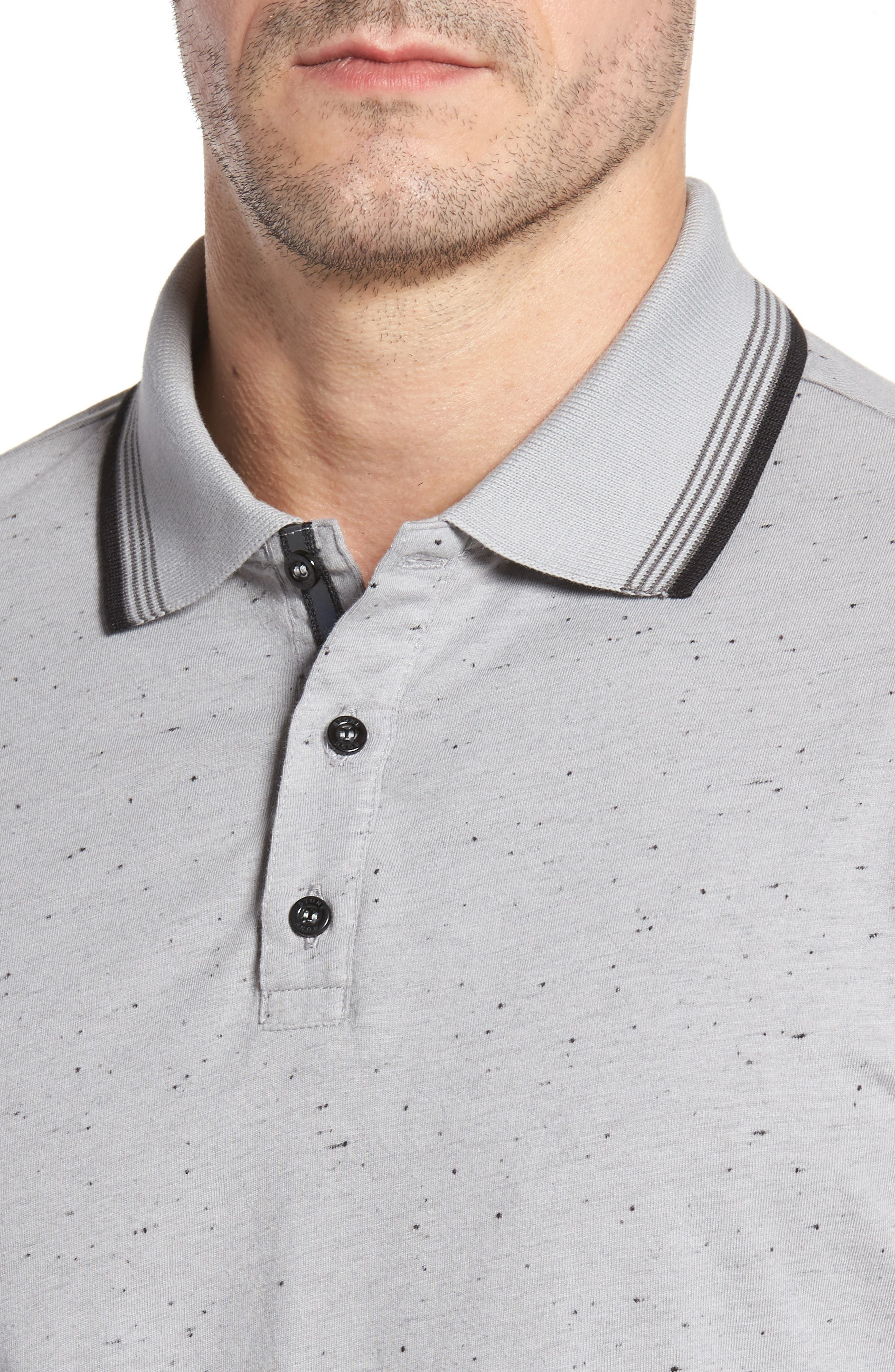 Speckle Knit Long Sleeve Polo,                             Alternate thumbnail 7, color,