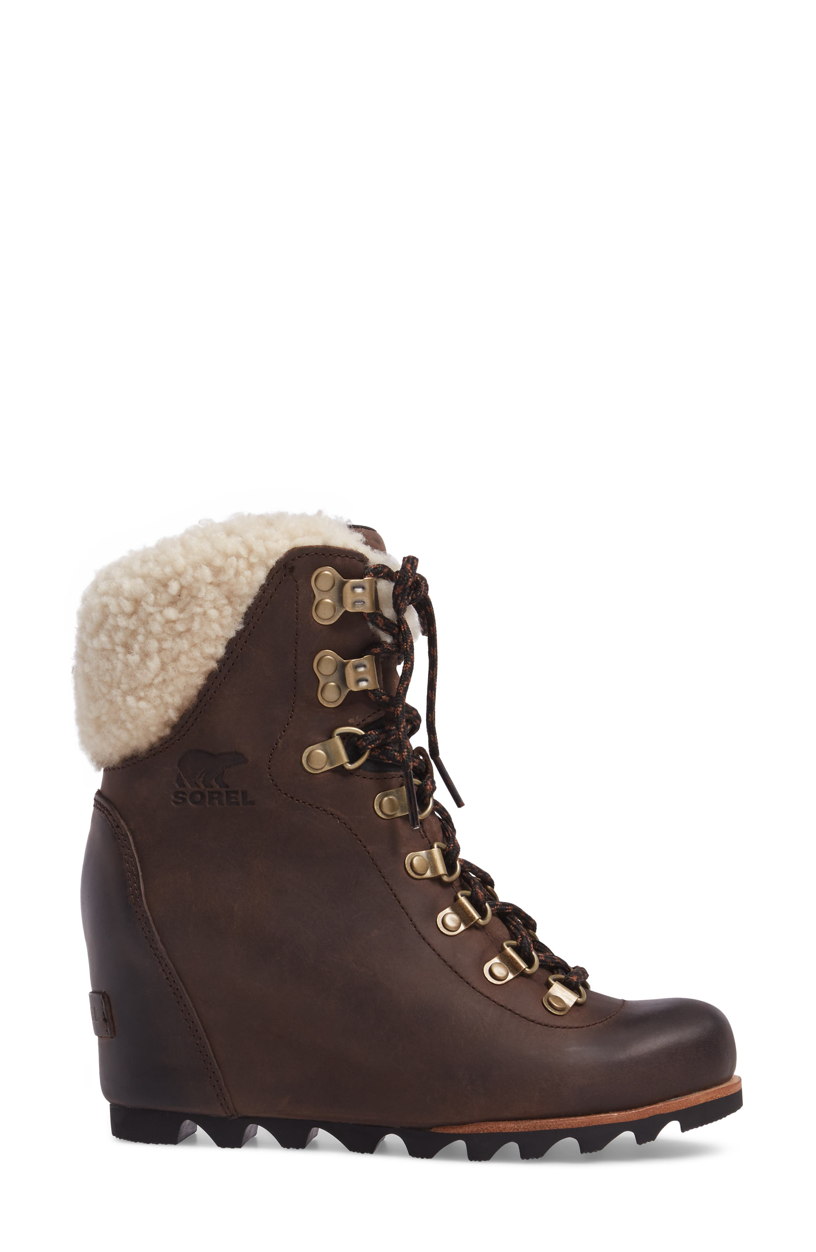 Conquest Genuine Shearling Cuff Waterproof Boot,                             Alternate thumbnail 3, color,                             200