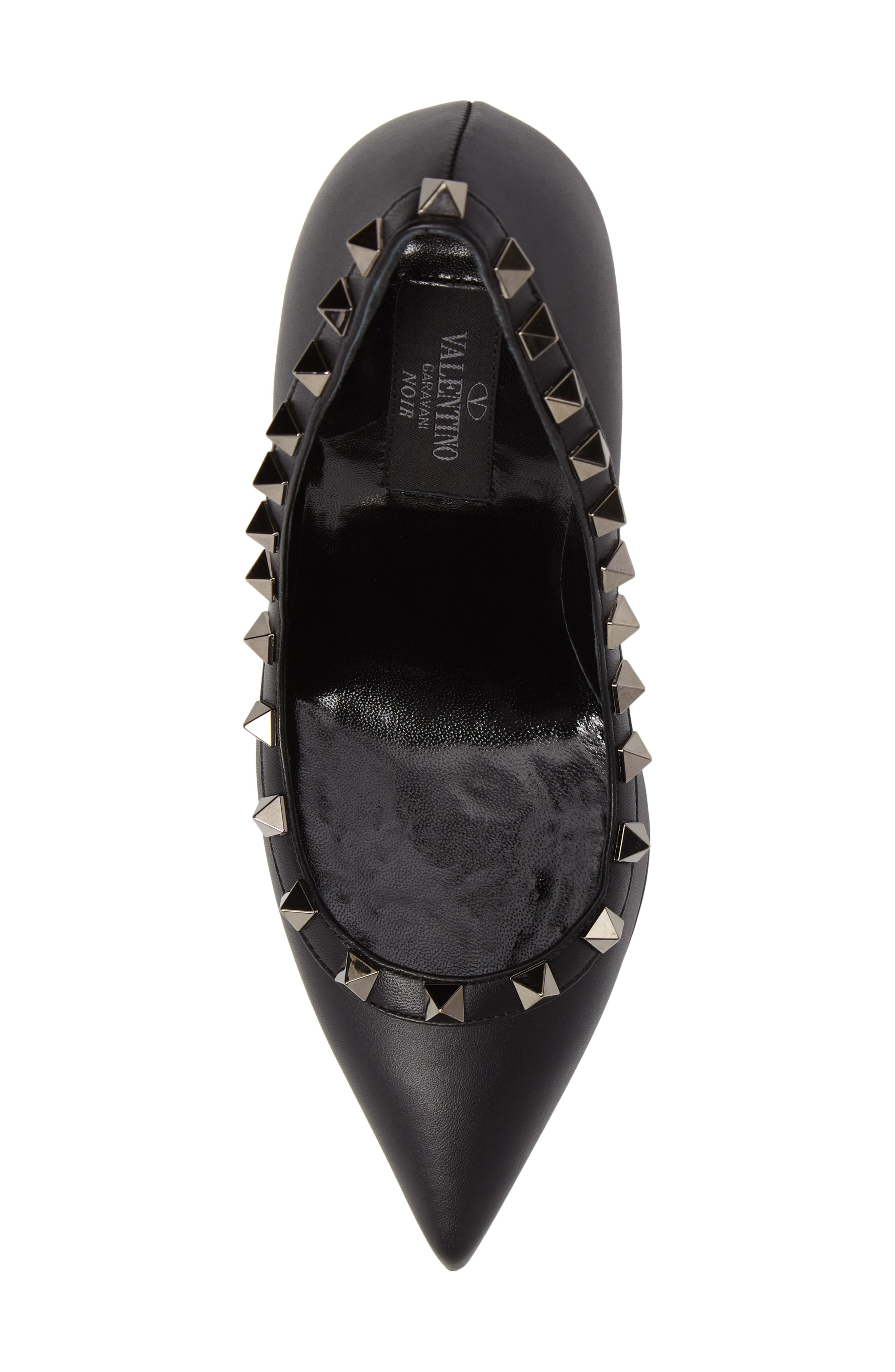 Rockstud Pointy Toe Pump,                             Alternate thumbnail 5, color,                             001