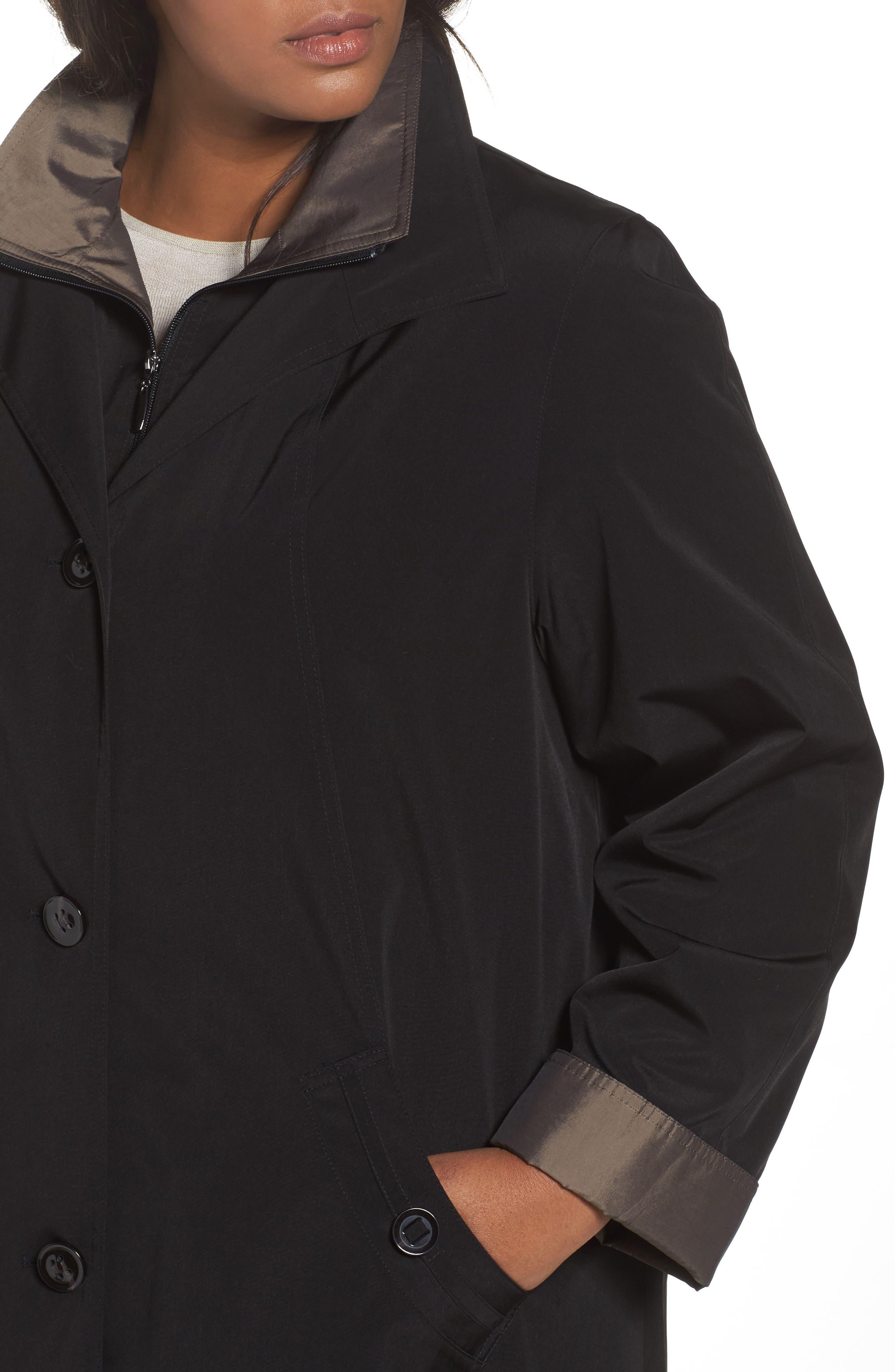 Two-Tone Long Silk Look Raincoat,                             Alternate thumbnail 4, color,                             BLACK