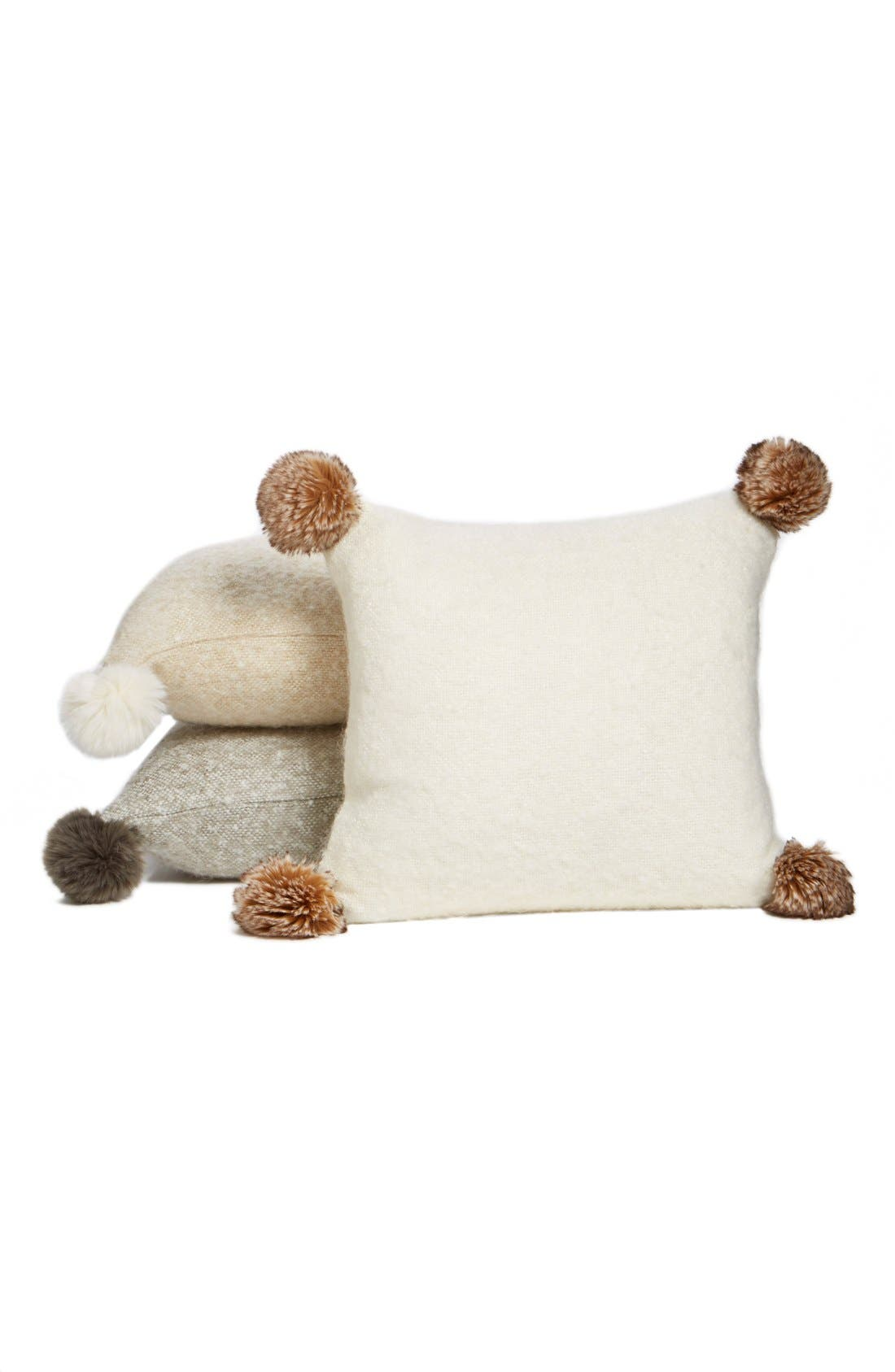 Brushed Accent Pillow with Pompoms,                             Alternate thumbnail 12, color,