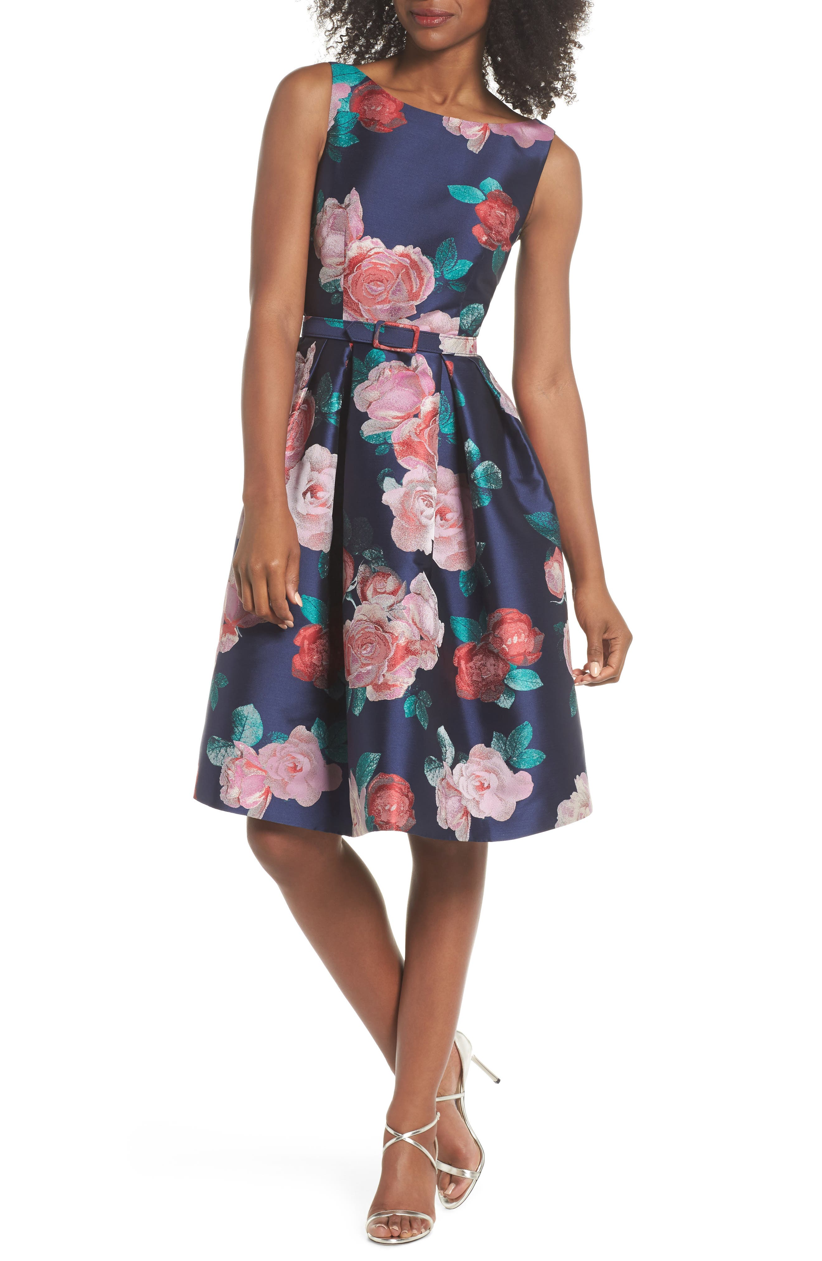 Floral Fit & Flare Dress,                             Main thumbnail 1, color,                             NAVY