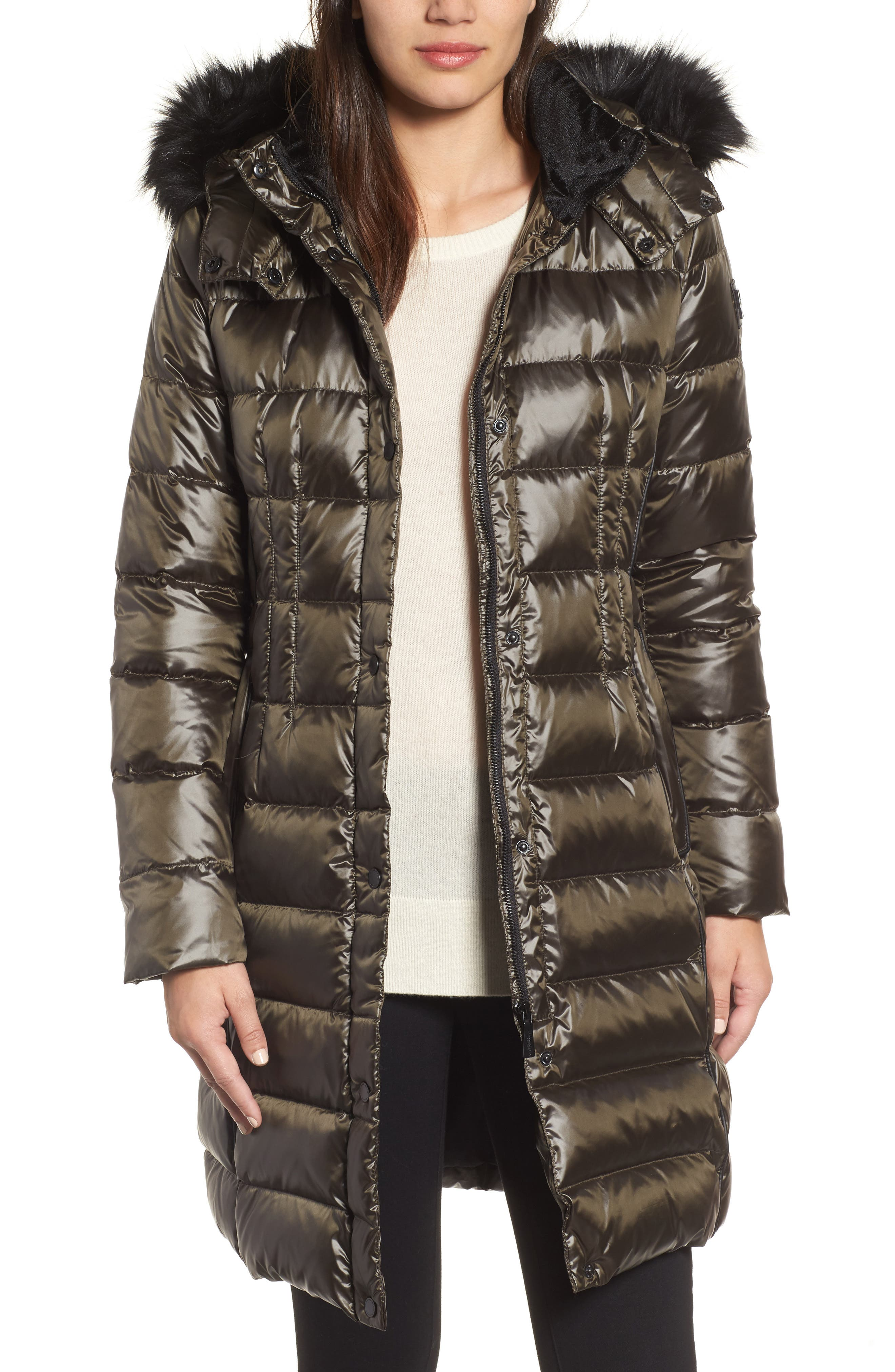 Down Puffer Coat with Faux Fur Trim,                             Main thumbnail 3, color,