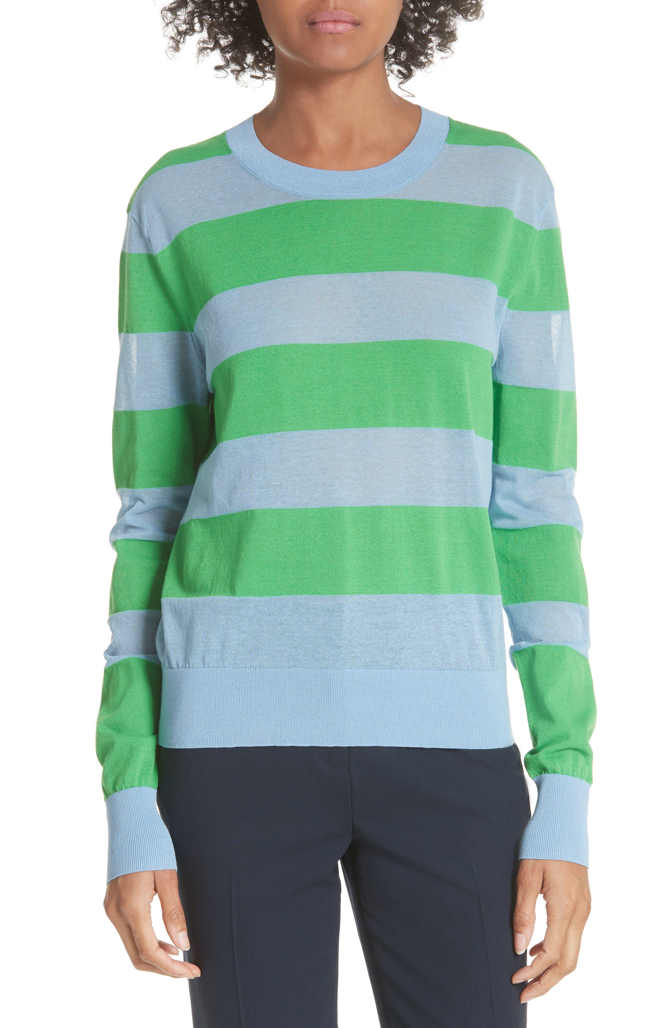 Diane von Furstenberg Colorblock Stripe Sweater,                             Main thumbnail 1, color,                             415