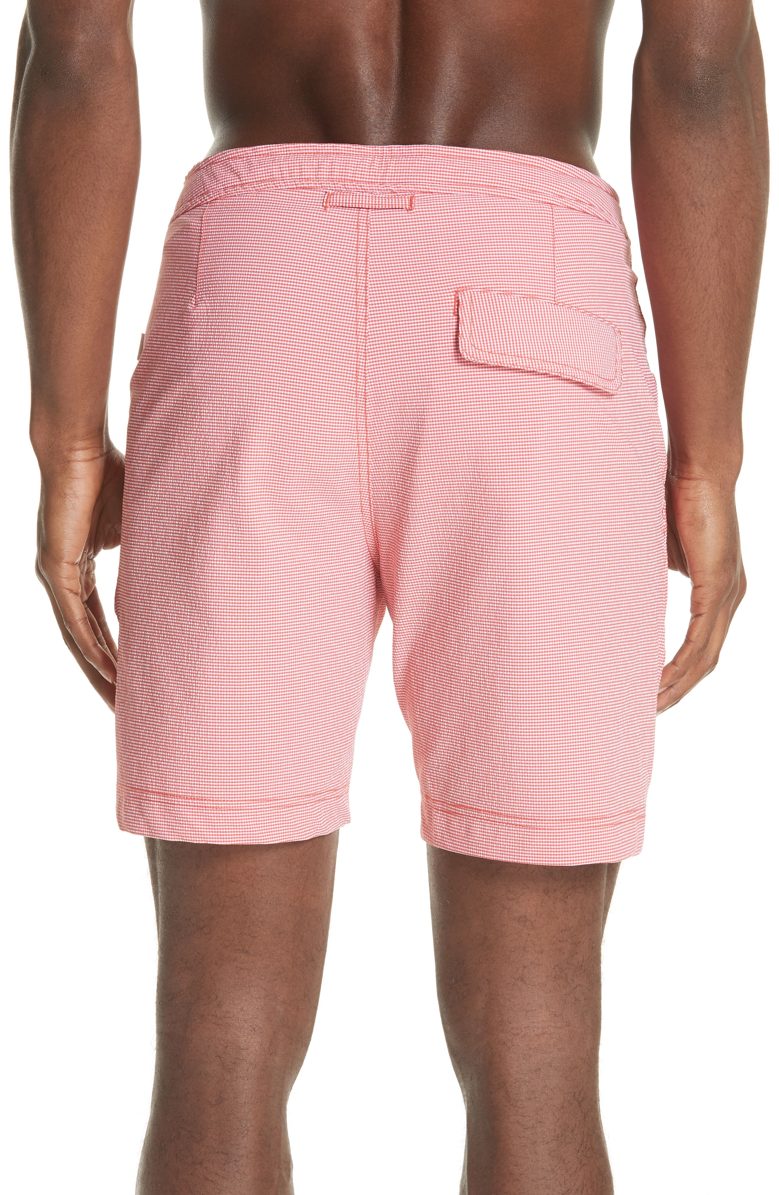 Calder Spanish Gingham Swim Trunks,                             Alternate thumbnail 2, color,                             GRENADINE/ WHITE