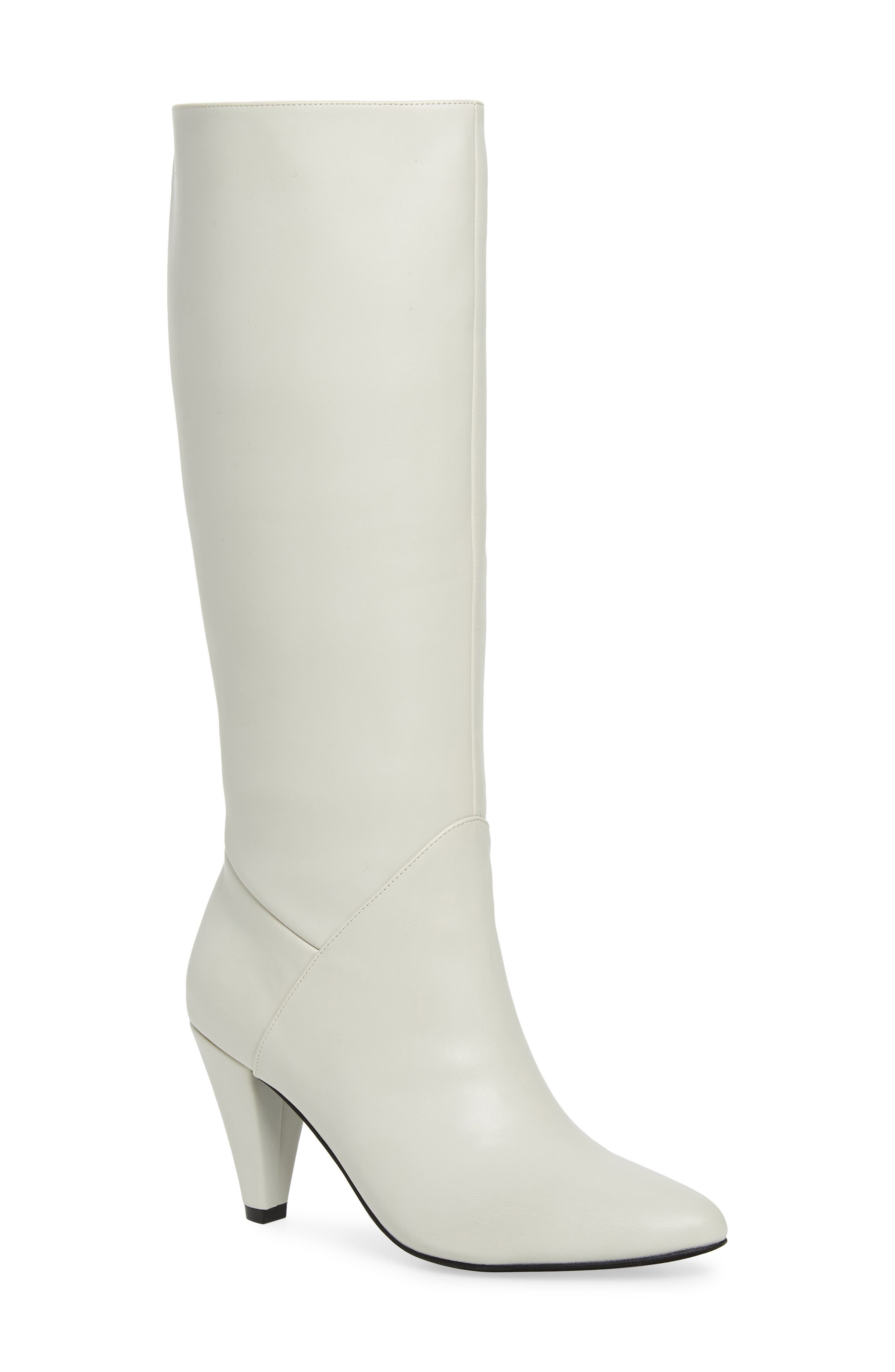 JEFFREY CAMPBELL Jeffery Campbell Candle Knee High Boot in Ivory Faux Leather