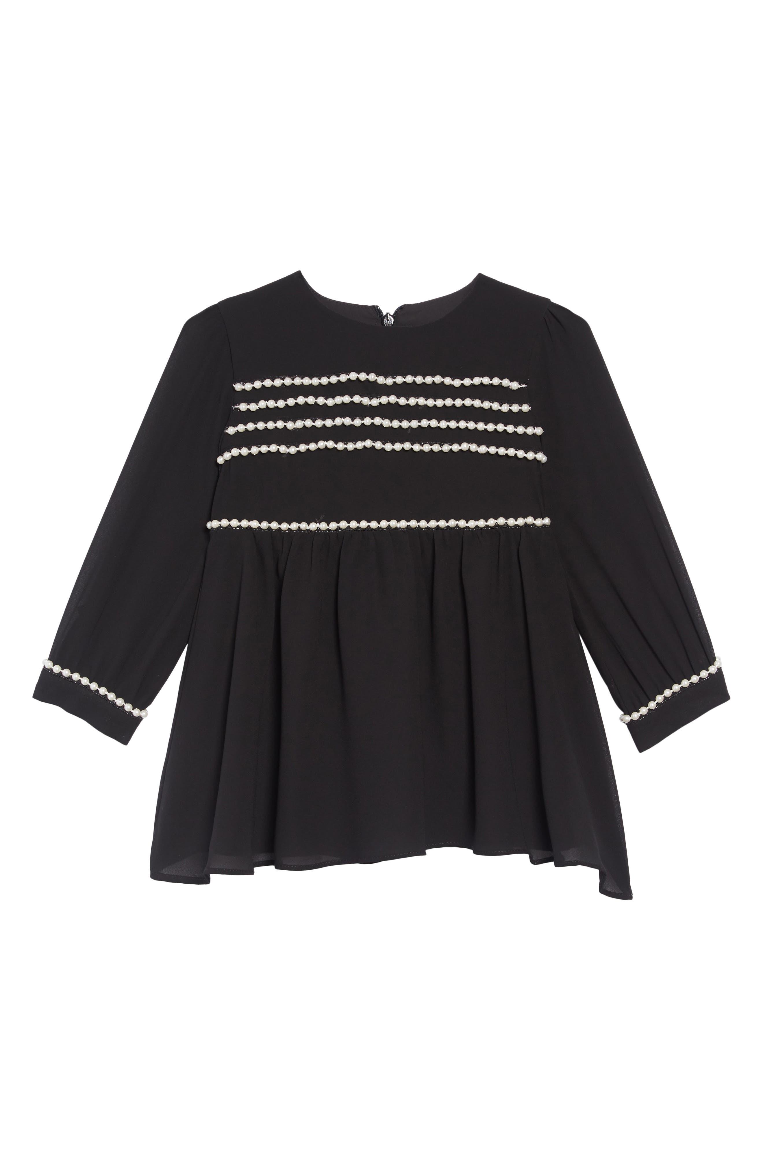 Valentina Embellished Dress,                         Main,                         color, JET BLACK