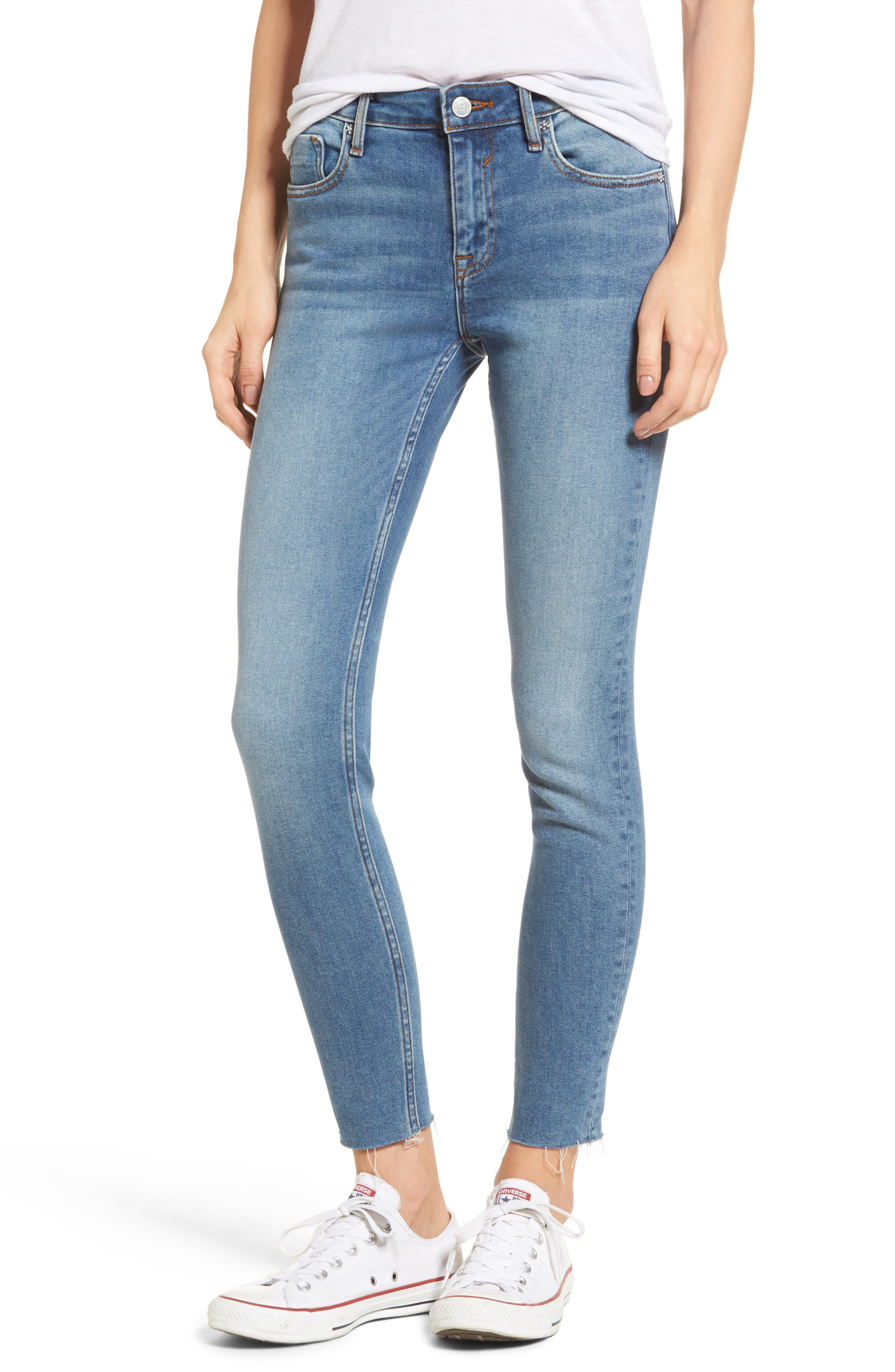 Marley Raw Hem Super Skinny Jeans,                             Main thumbnail 1, color,                             461