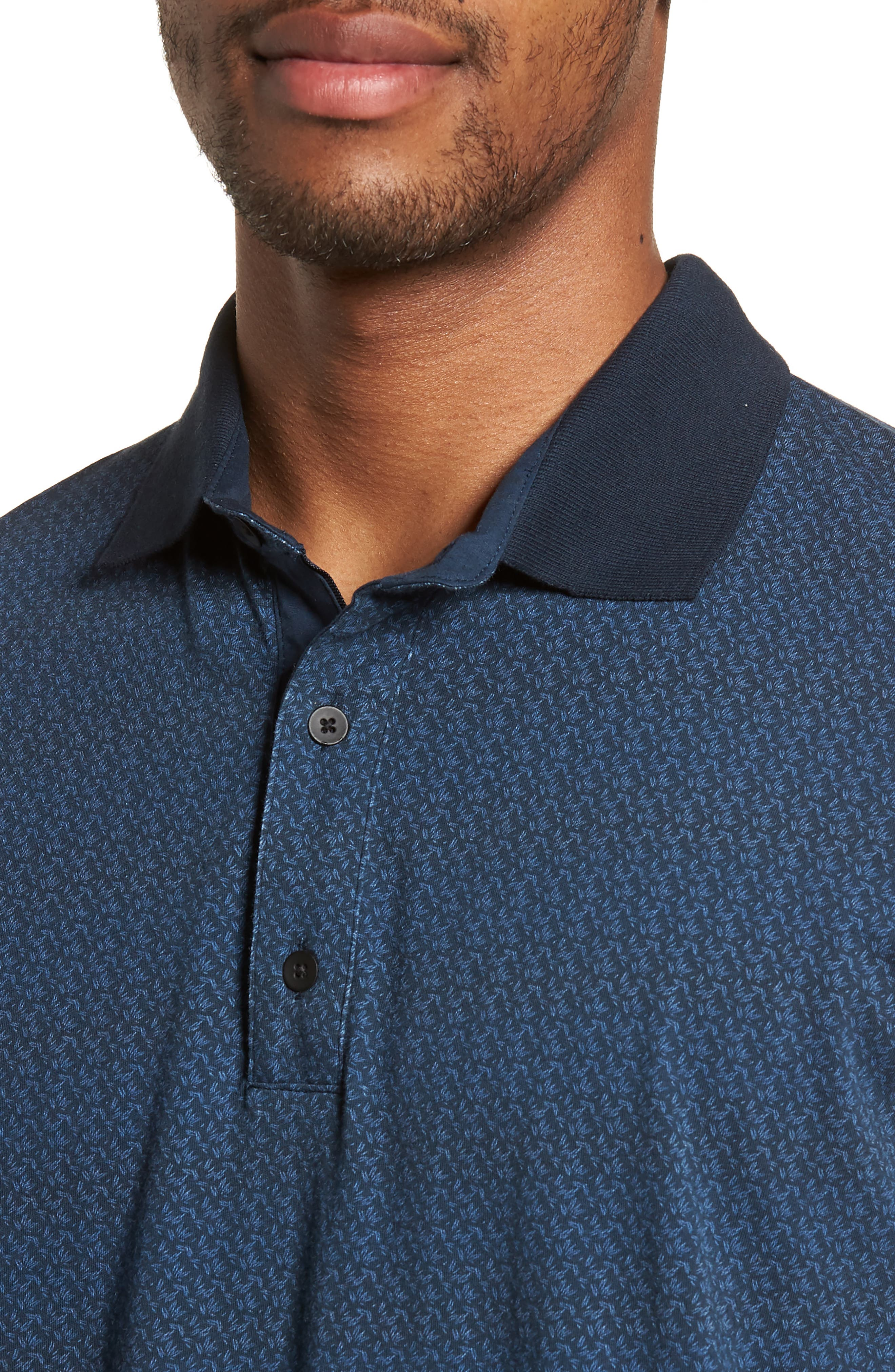 Reworked Slim Fit Leaf Print Polo,                             Alternate thumbnail 4, color,                             410