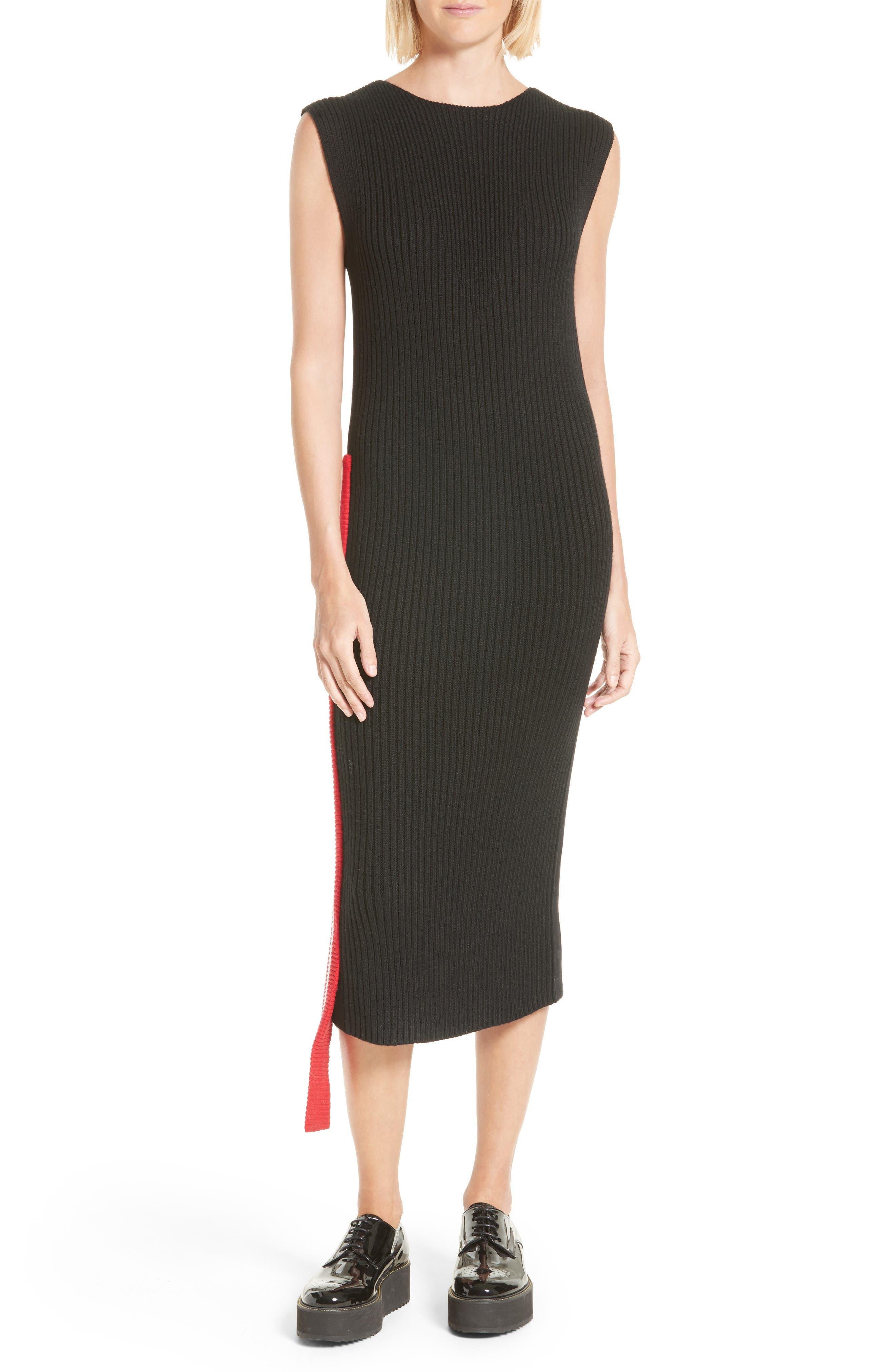 Serat Stripe Rib Knit Dress,                             Main thumbnail 1, color,                             001