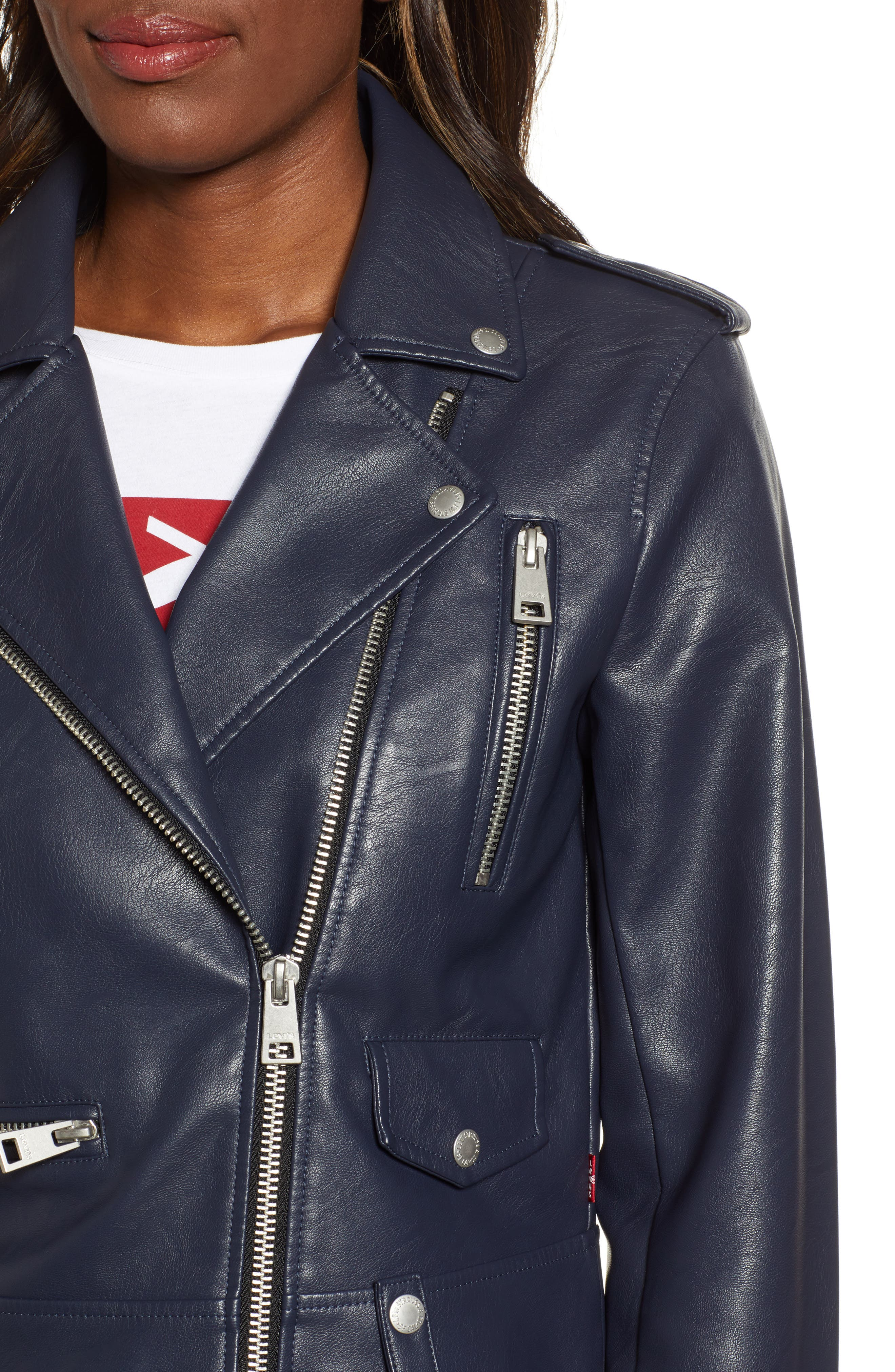 Faux Leather Moto Jacket,                             Alternate thumbnail 4, color,                             NAVY