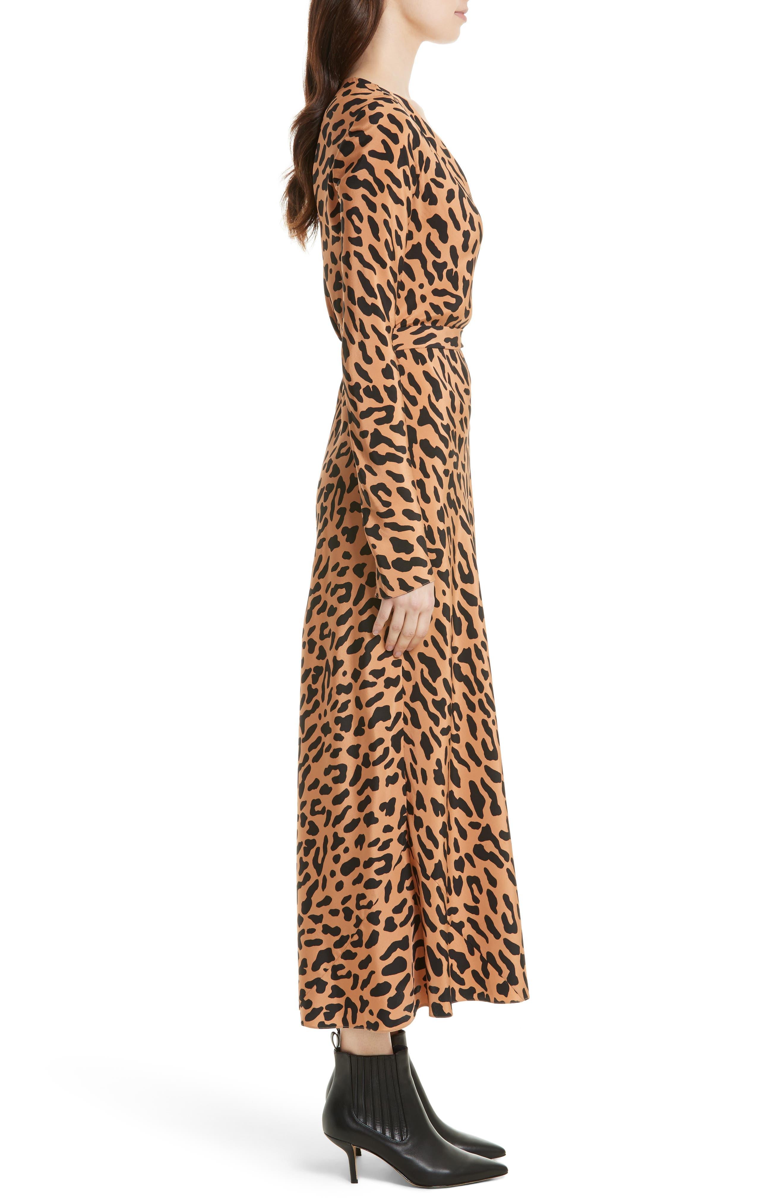 Midi Print Silk Wrap Dress,                             Alternate thumbnail 3, color,                             202