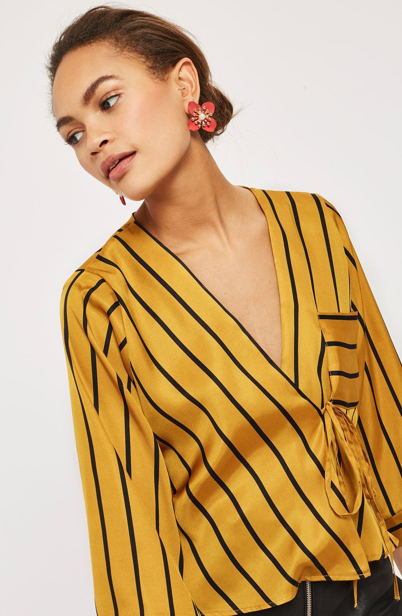 Stripe Tie Wrap Kimono Top,                             Alternate thumbnail 8, color,