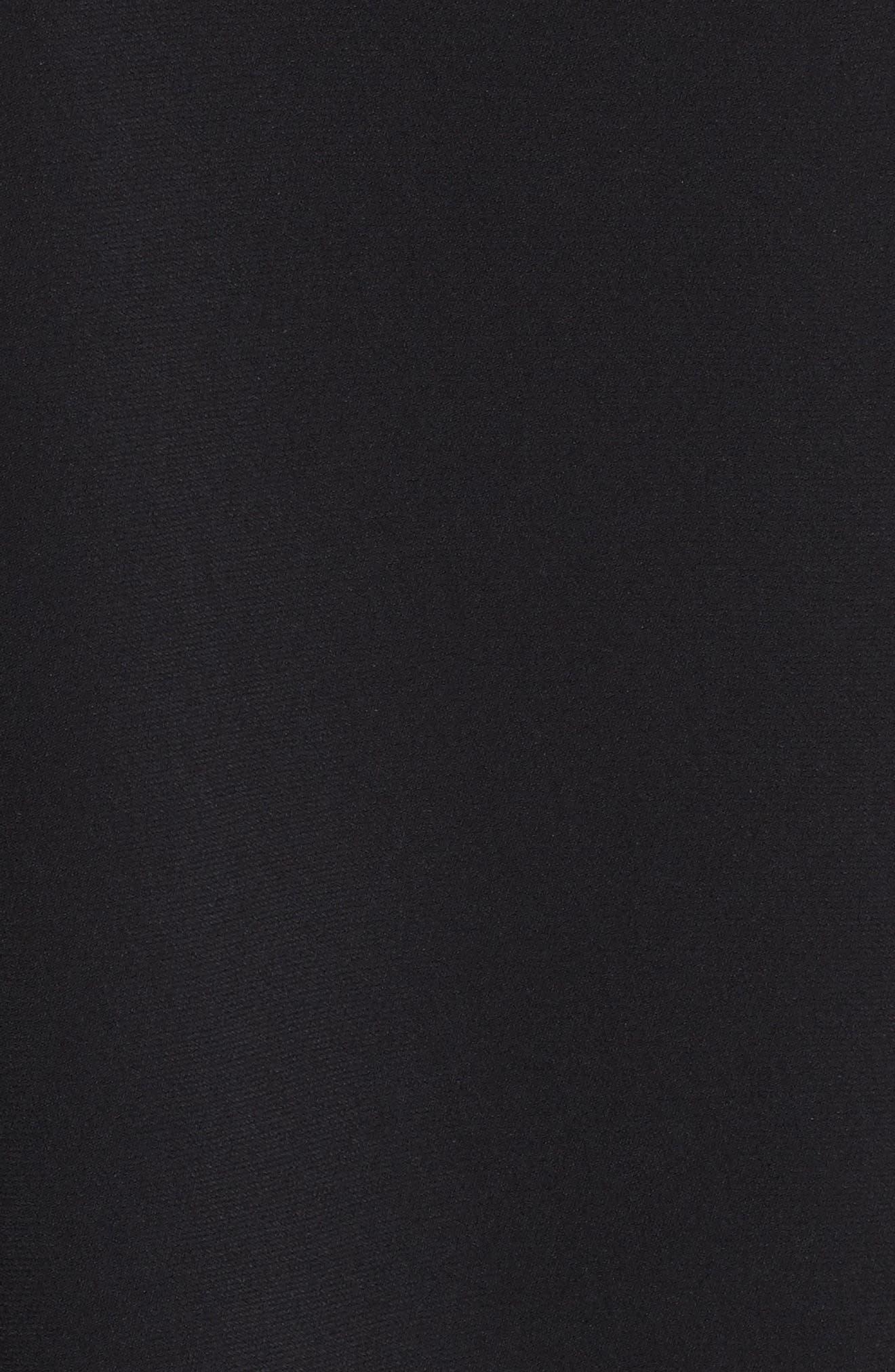 Stretch Cady One-Shoulder Cape Gown,                             Alternate thumbnail 5, color,                             001