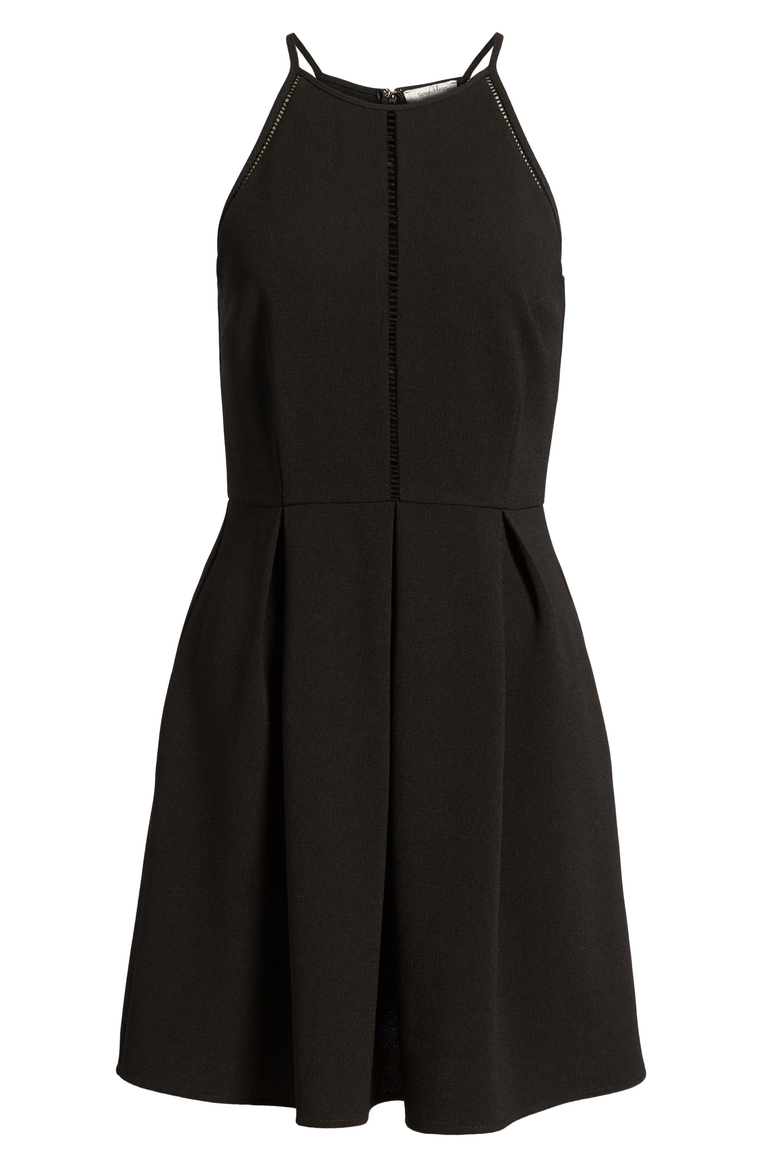 Lace Inset Fit & Flare Dress,                             Alternate thumbnail 7, color,                             002
