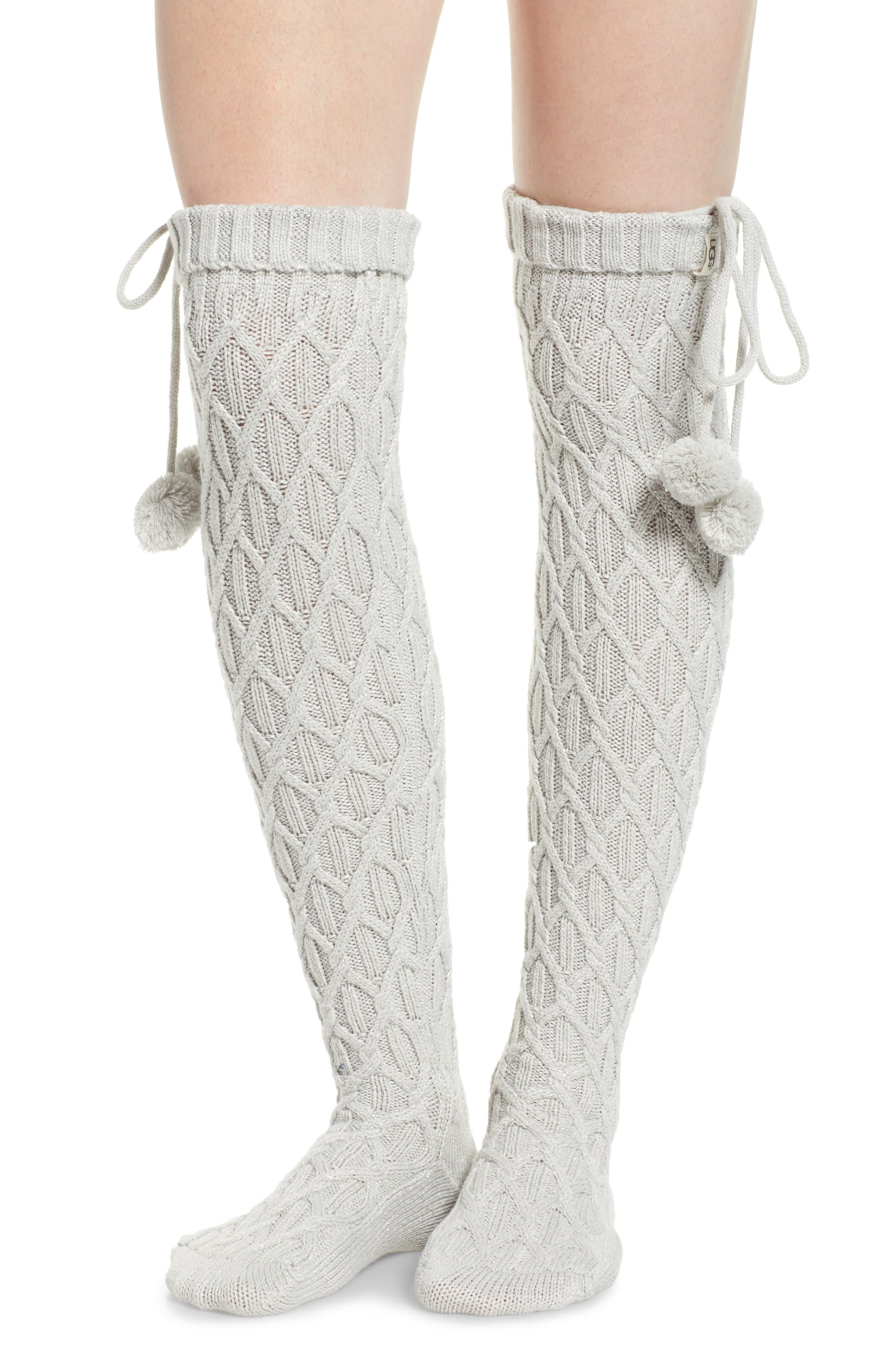 Sparkle Cable Knit Over the Knee Socks,                             Main thumbnail 1, color,                             GREY VIOLET