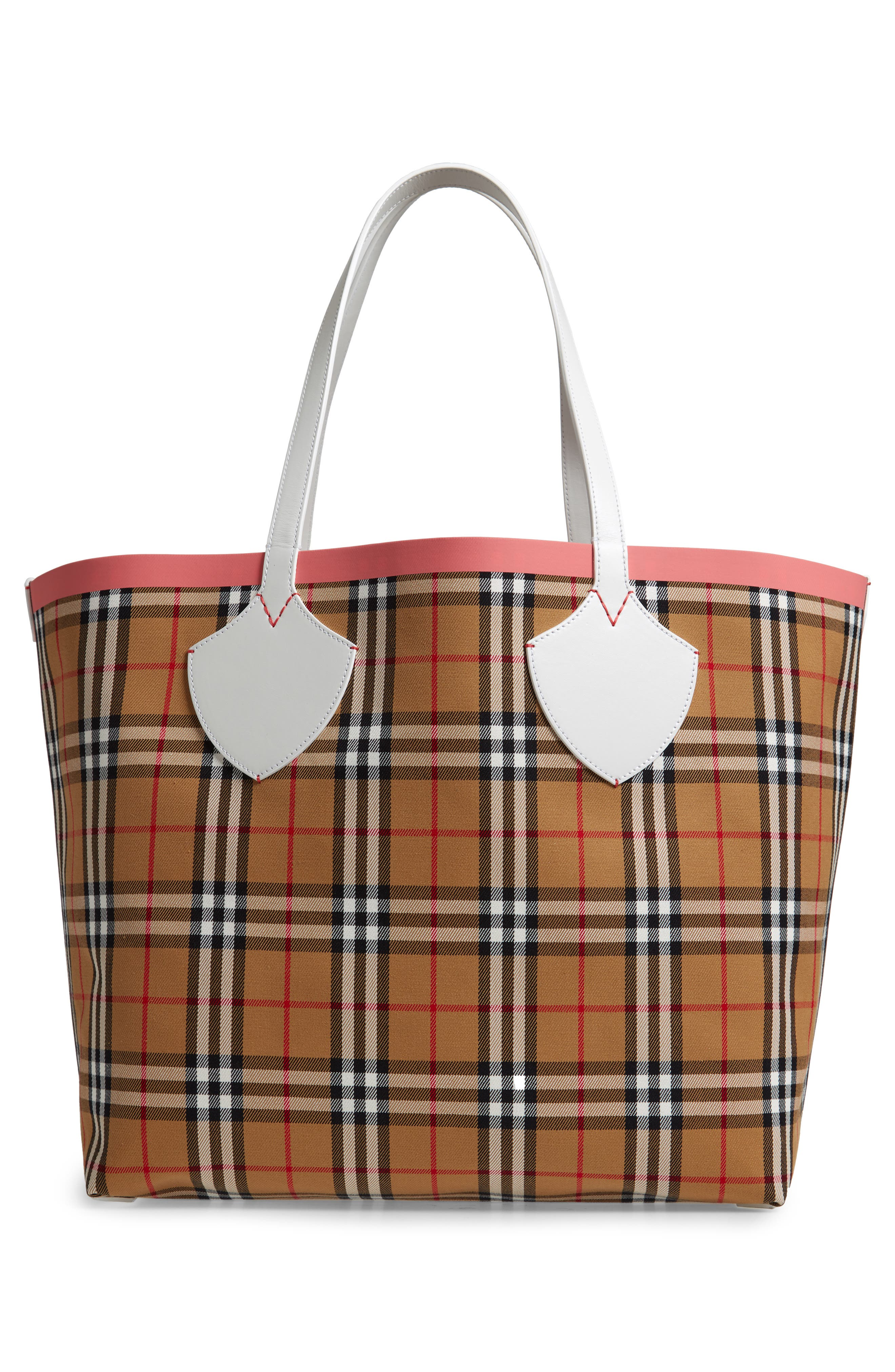 Giant Check Reversible Tote,                             Alternate thumbnail 4, color,                             BEIGE/ PINK/ CHALK WHITE