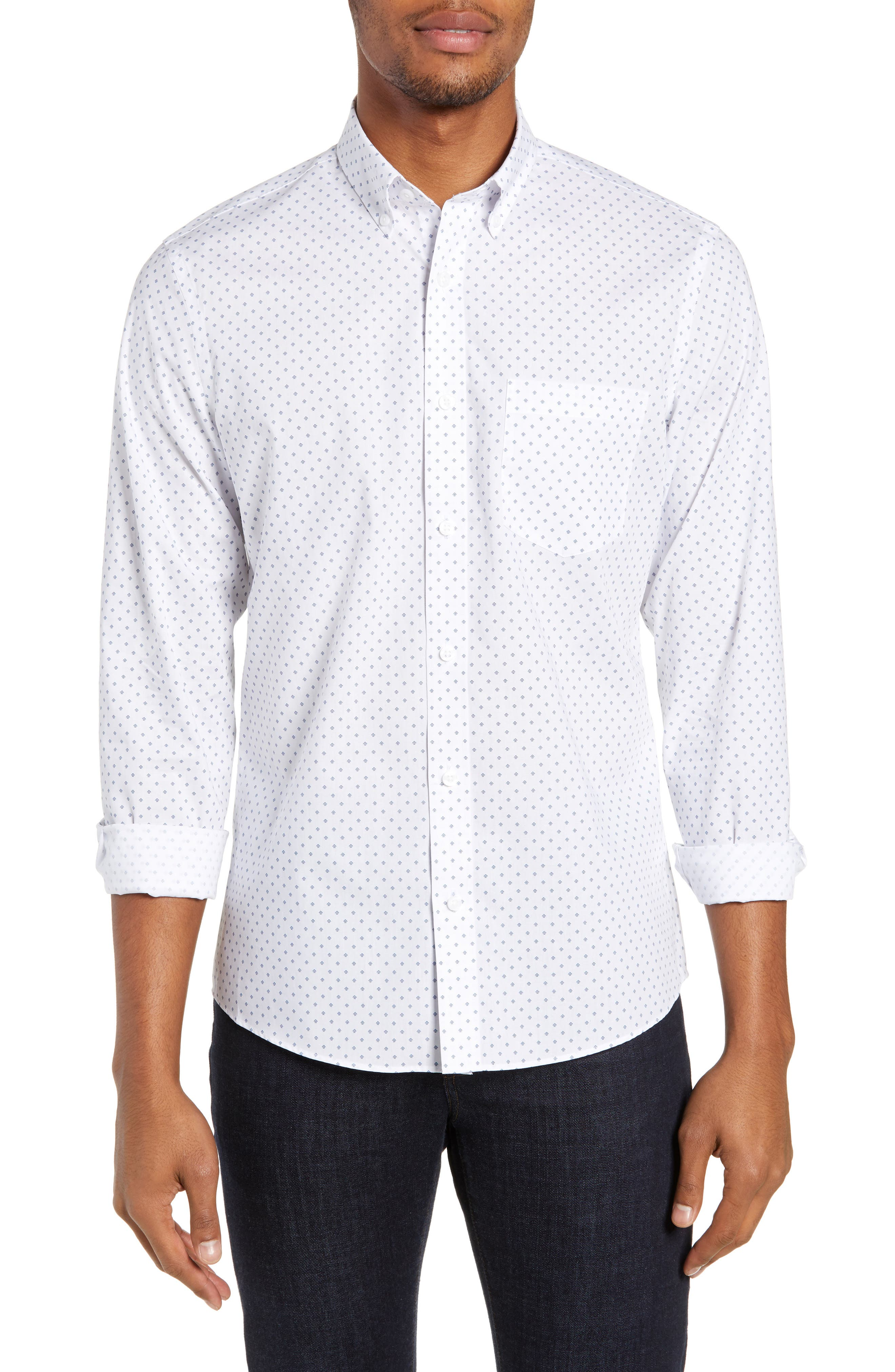NORDSTROM MEN'S SHOP Slim Fit Non-Iron Geo Print Sport Shirt, Main, color, 100