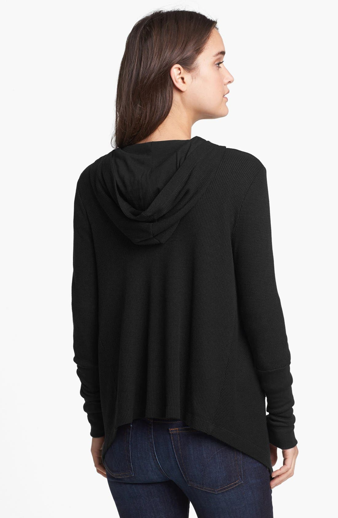 Draped Thermal Hoodie,                             Alternate thumbnail 3, color,                             BLACK