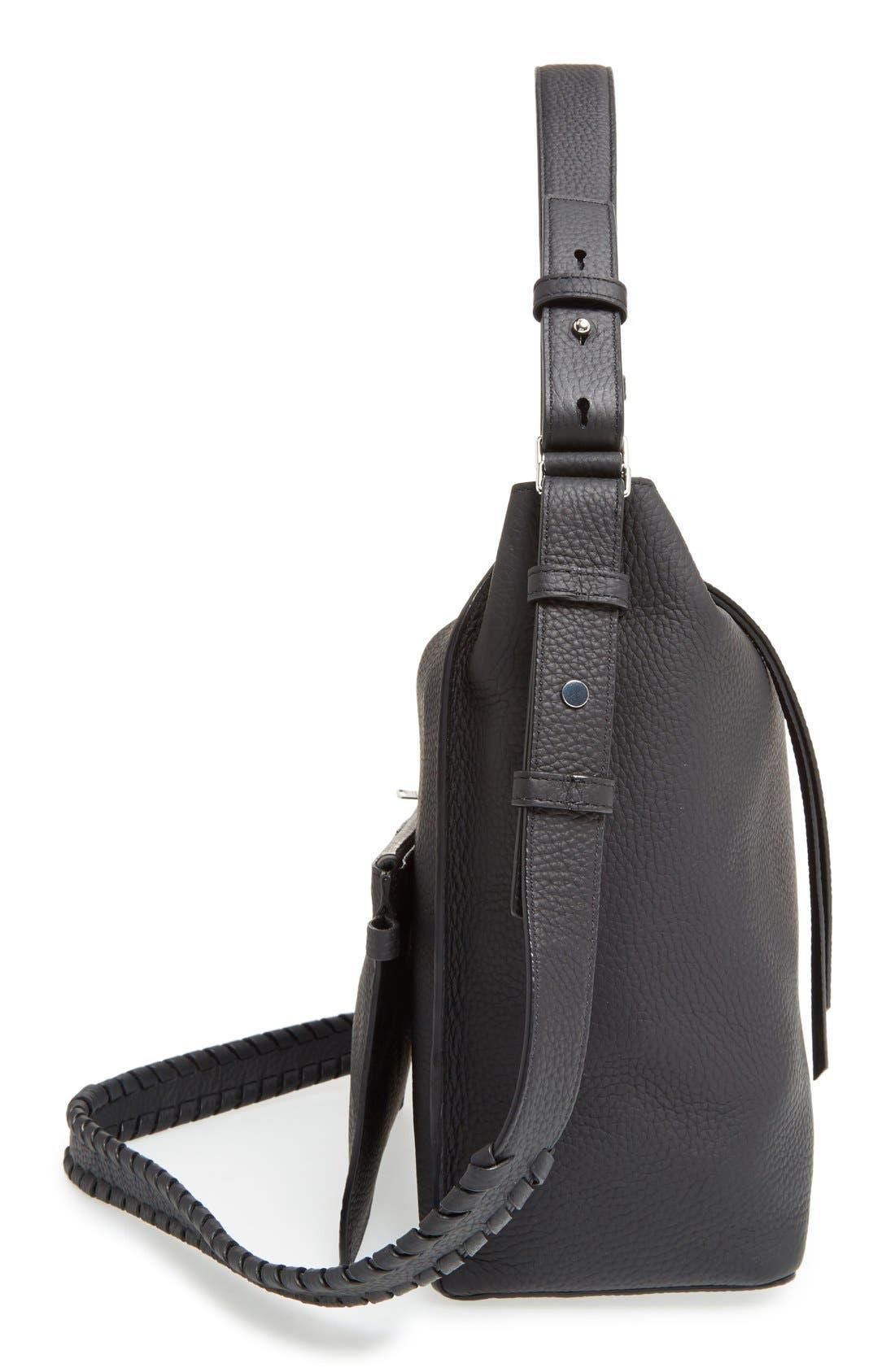 'Kita' Leather Shoulder/Crossbody Bag,                             Alternate thumbnail 3, color,                             BLACK