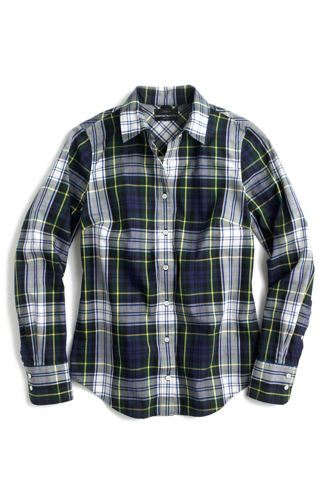 Navy Stewart Plaid Perfect Shirt,                             Alternate thumbnail 3, color,                             400