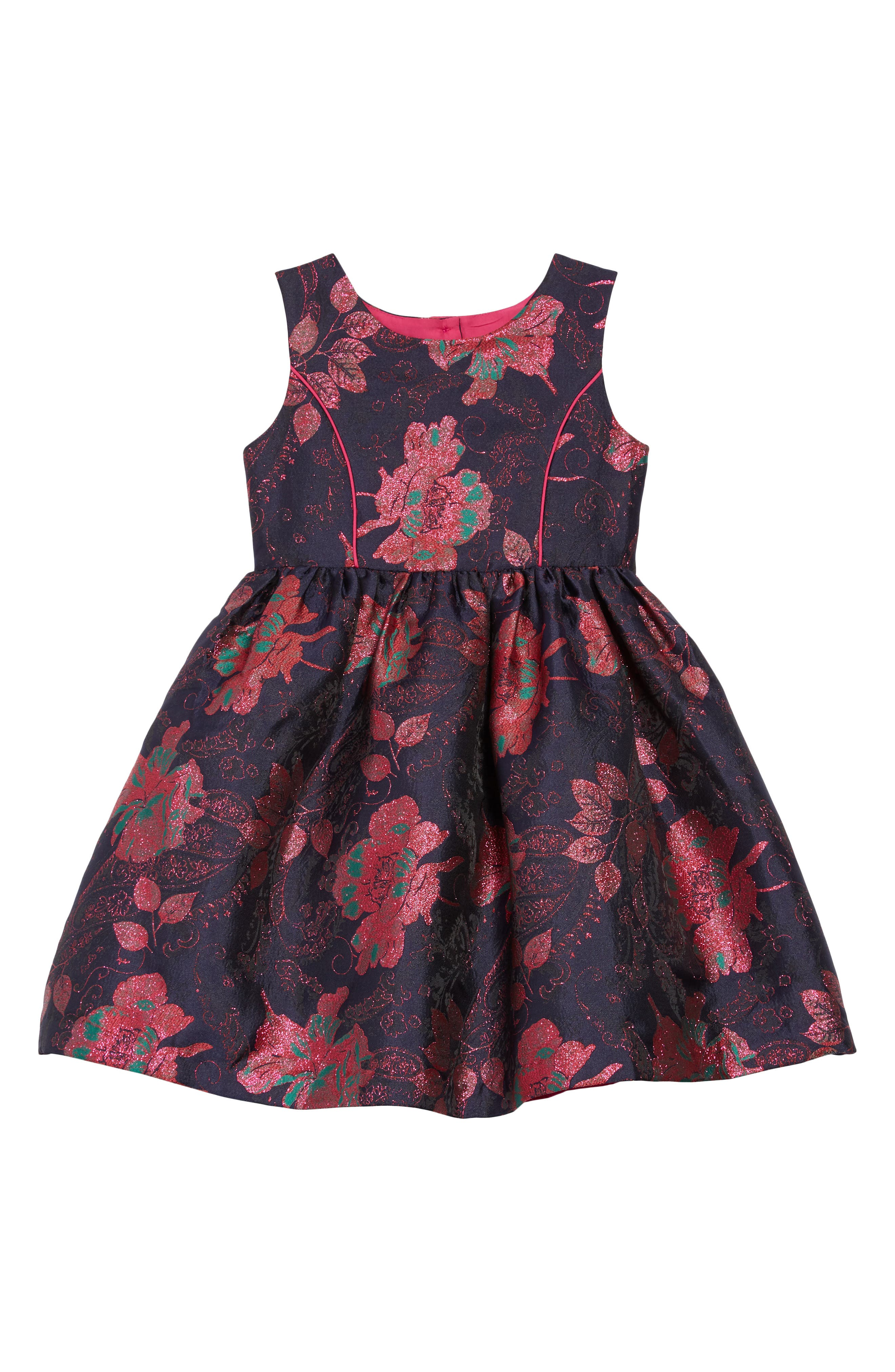 Floral Brocade Fit & Flare Dress,                             Main thumbnail 1, color,                             410