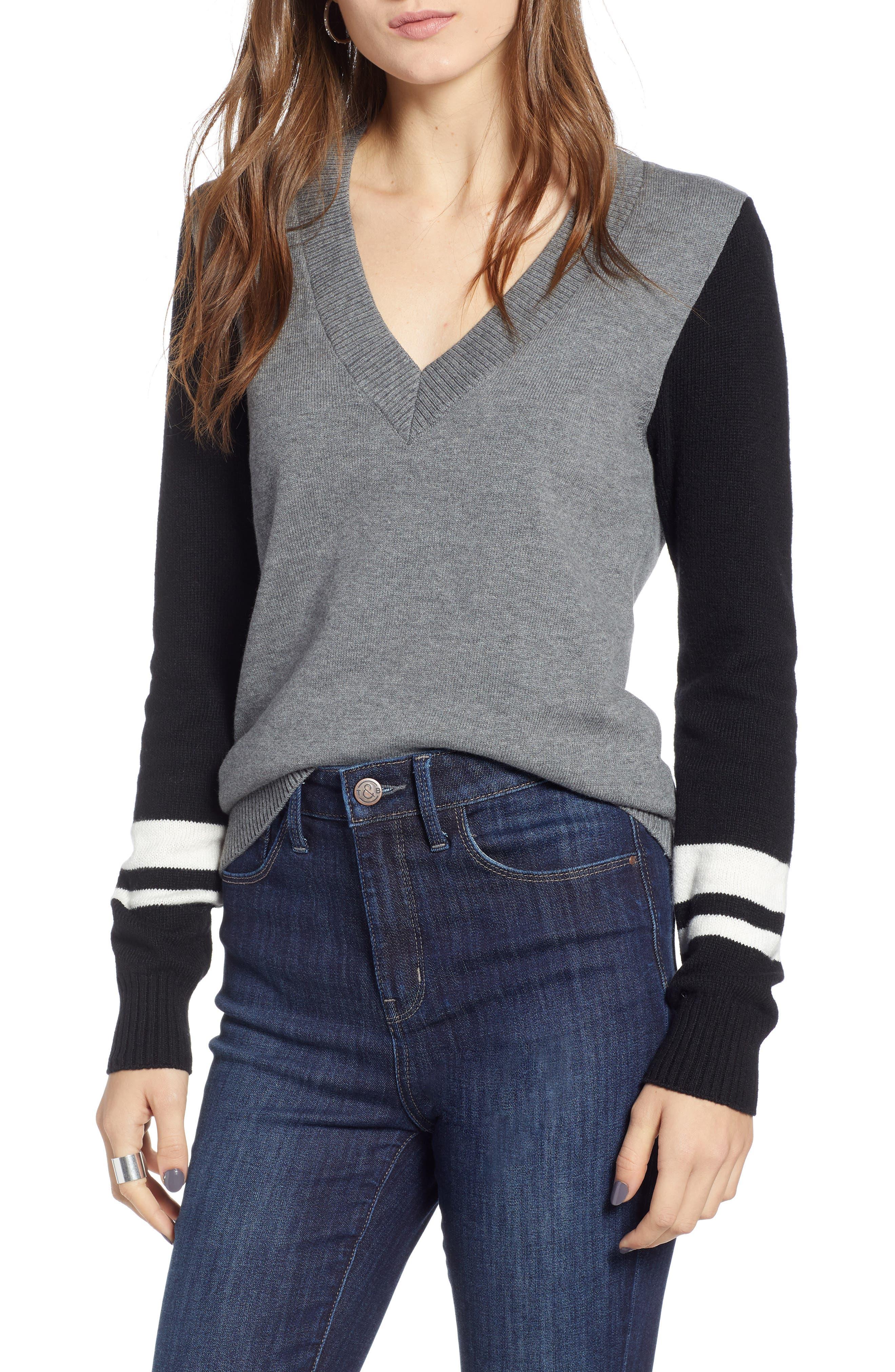 Treasure & Bond Stripe V-Neck Sweater, Grey