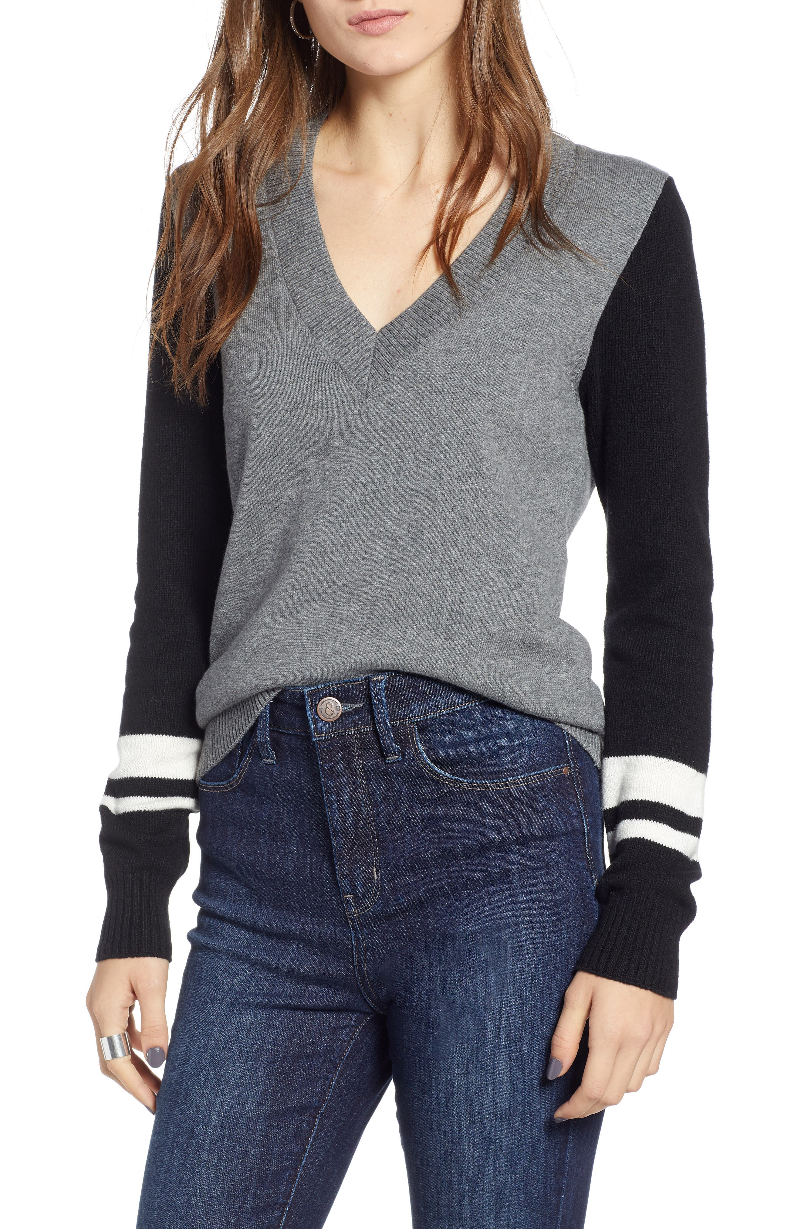 Stripe V-Neck Sweater,                             Main thumbnail 1, color,                             GREY HEATHER COMBO