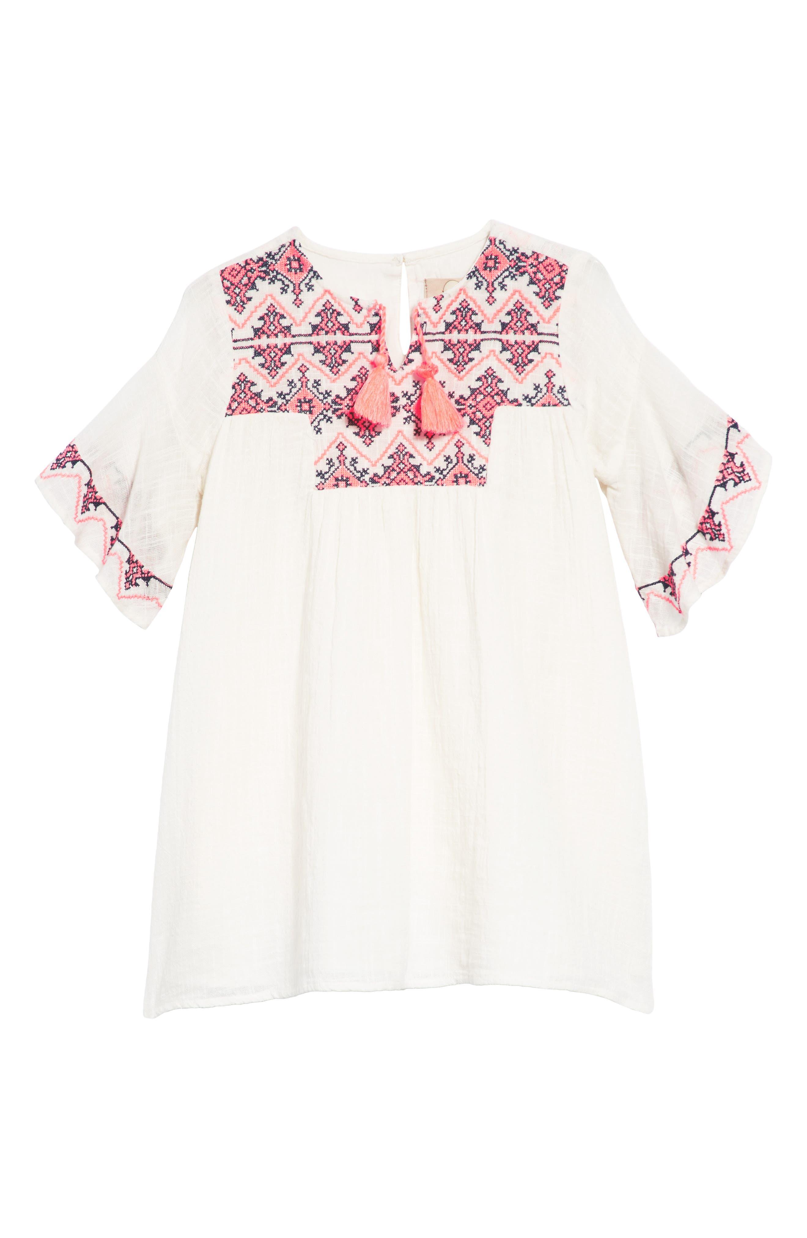Ava Embroidered Shift Dress,                             Main thumbnail 1, color,                             100