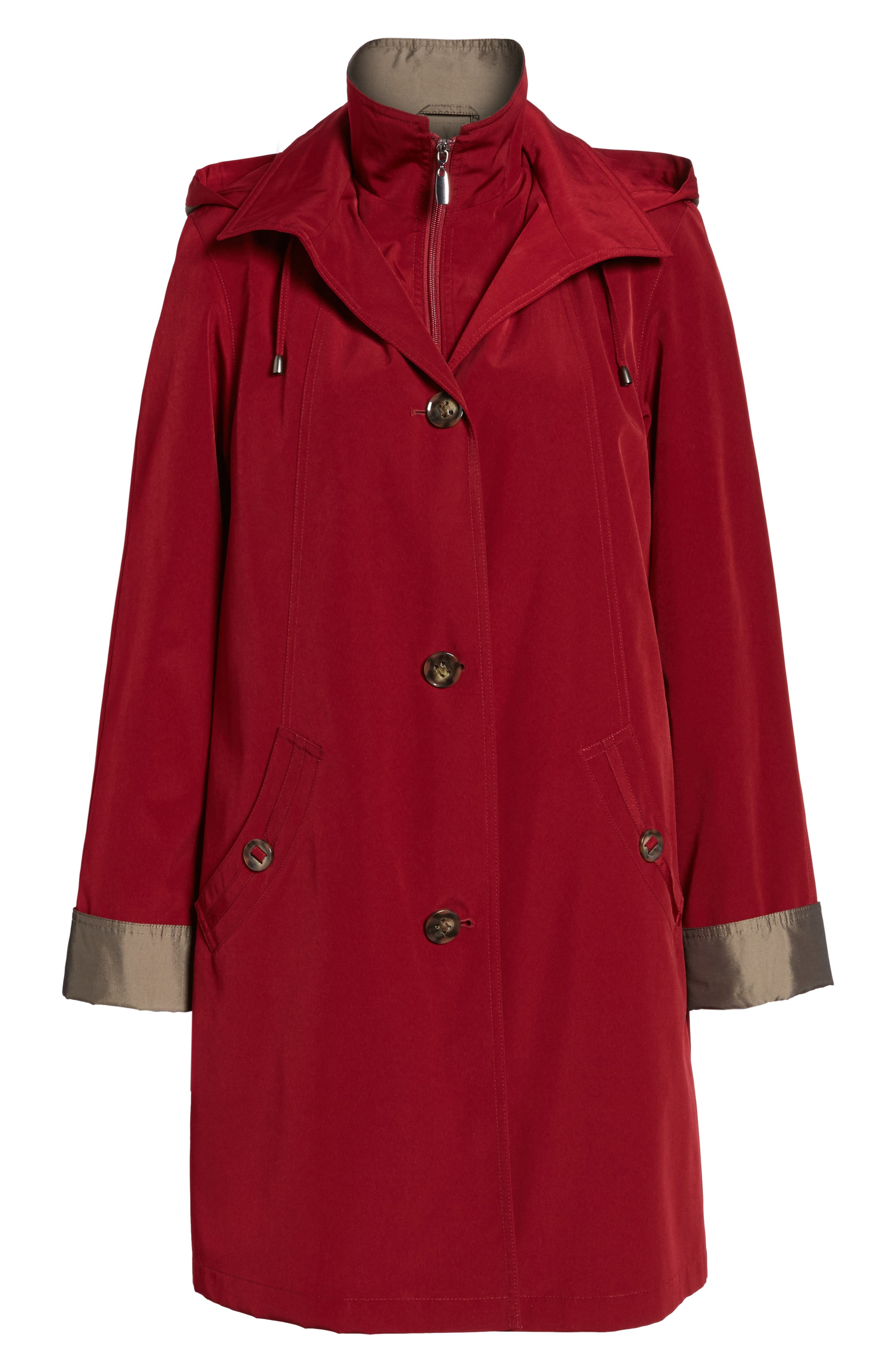 A-Line Raincoat with Detachable Hood & Liner,                             Alternate thumbnail 19, color,