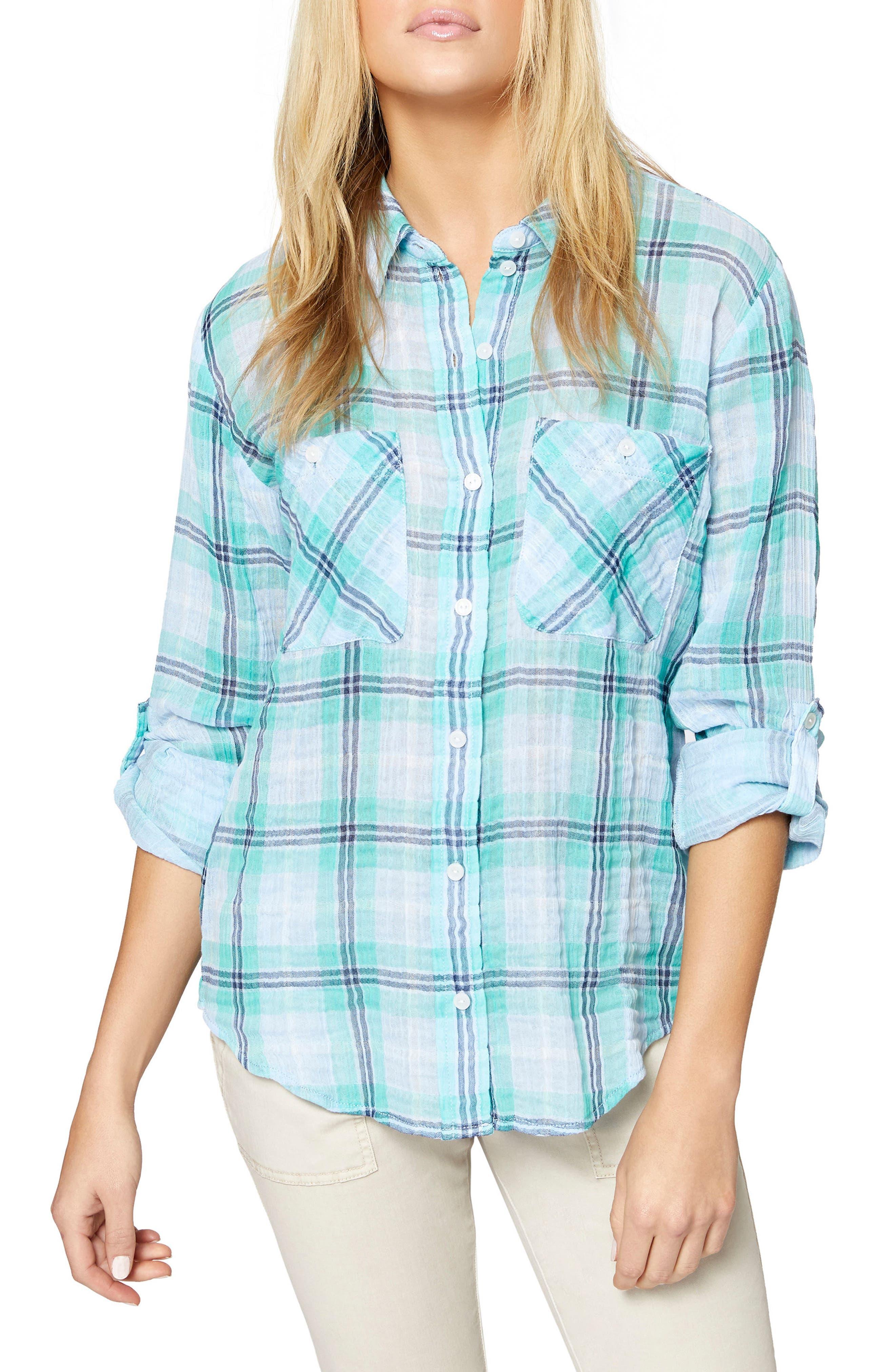 The Steady Boyfriend Shirt,                         Main,                         color, BLOOM PLAID