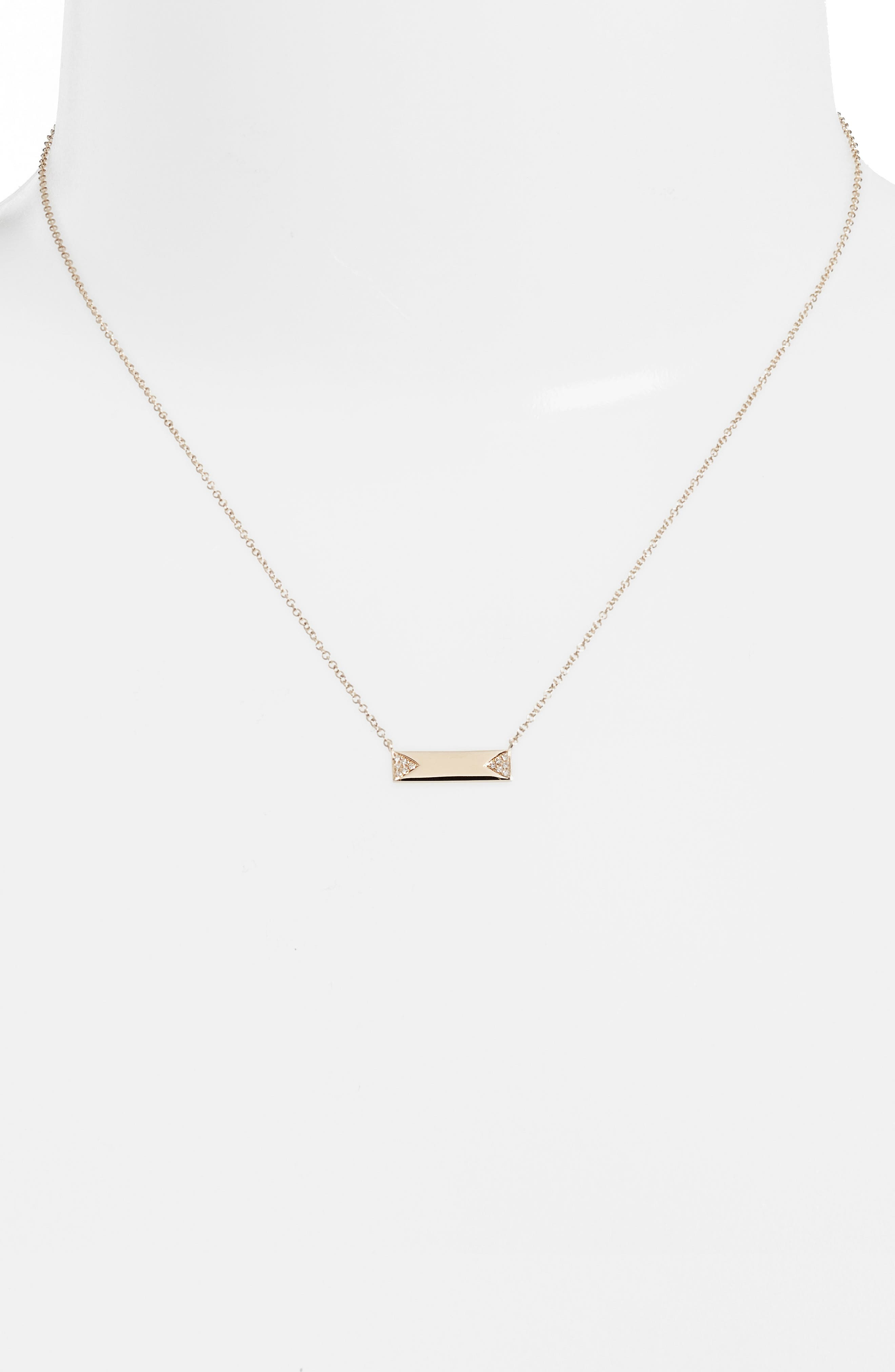 Diamond ID Pendant Necklace,                             Alternate thumbnail 2, color,                             YELLOW GOLD