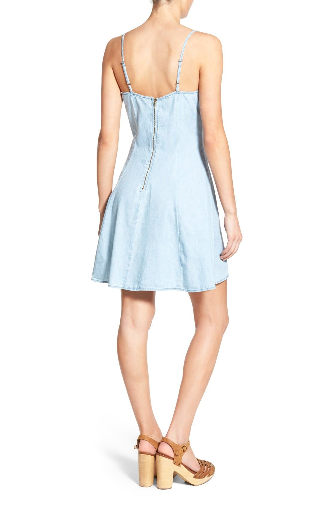 MIMI CHICA,                             Denim Skater Dress,                             Alternate thumbnail 4, color,                             401