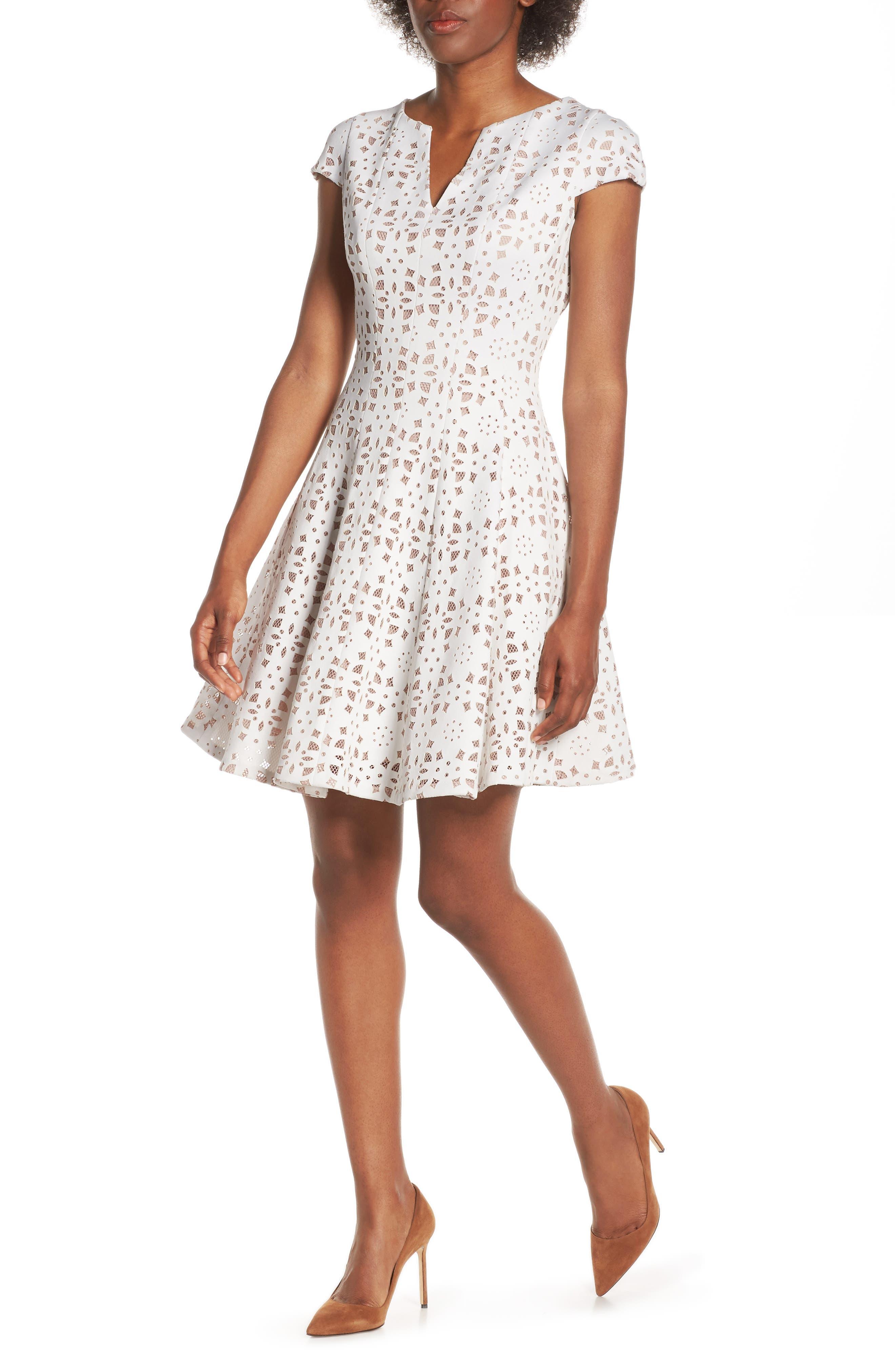 Julia Jordan Cutout Lace Dress, Ivory