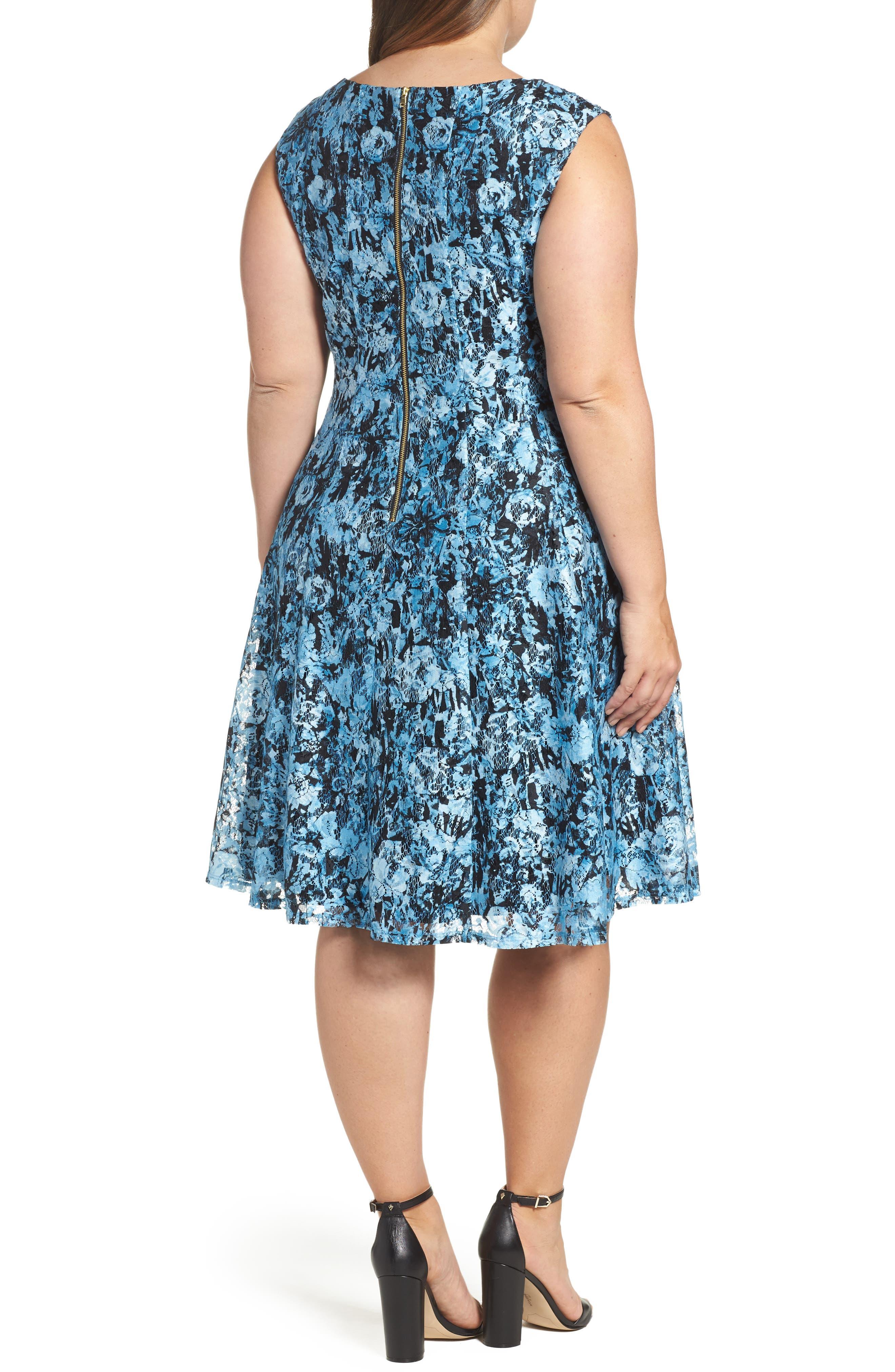 Print Lace Fit & Flare Dress,                             Alternate thumbnail 2, color,                             400