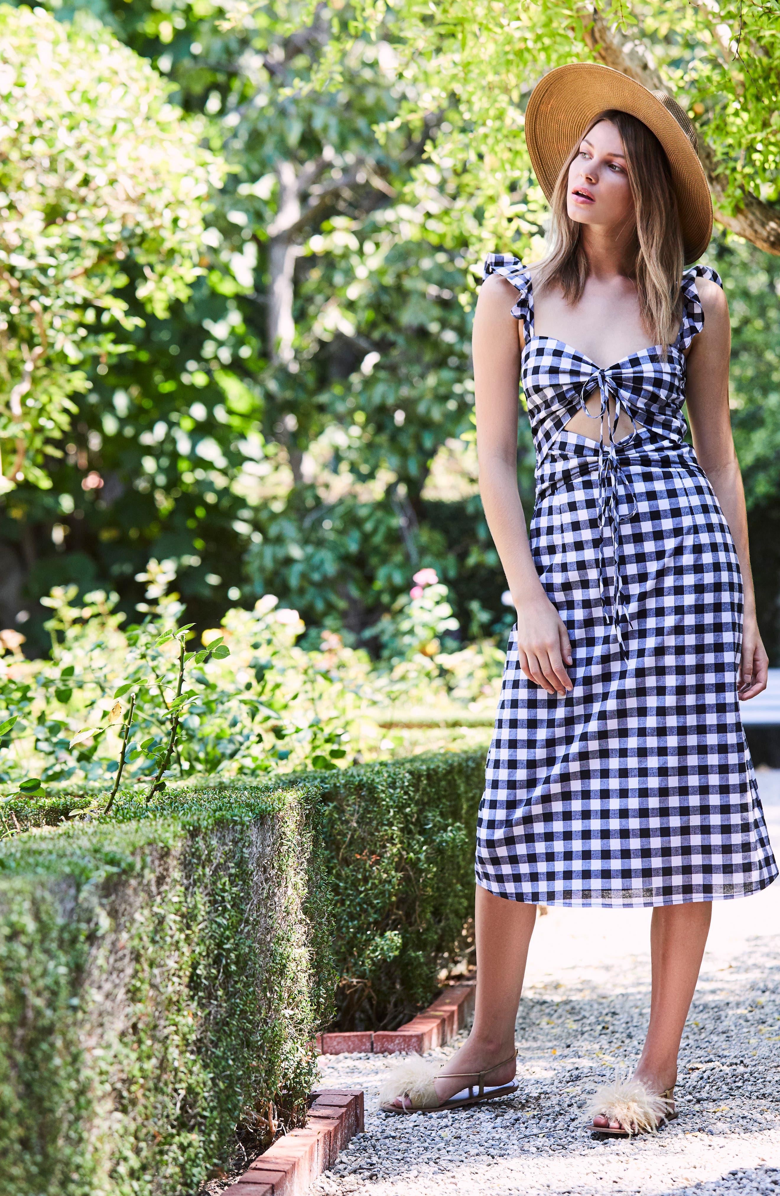 Verona Cutout Midi Dress,                             Alternate thumbnail 8, color,                             001