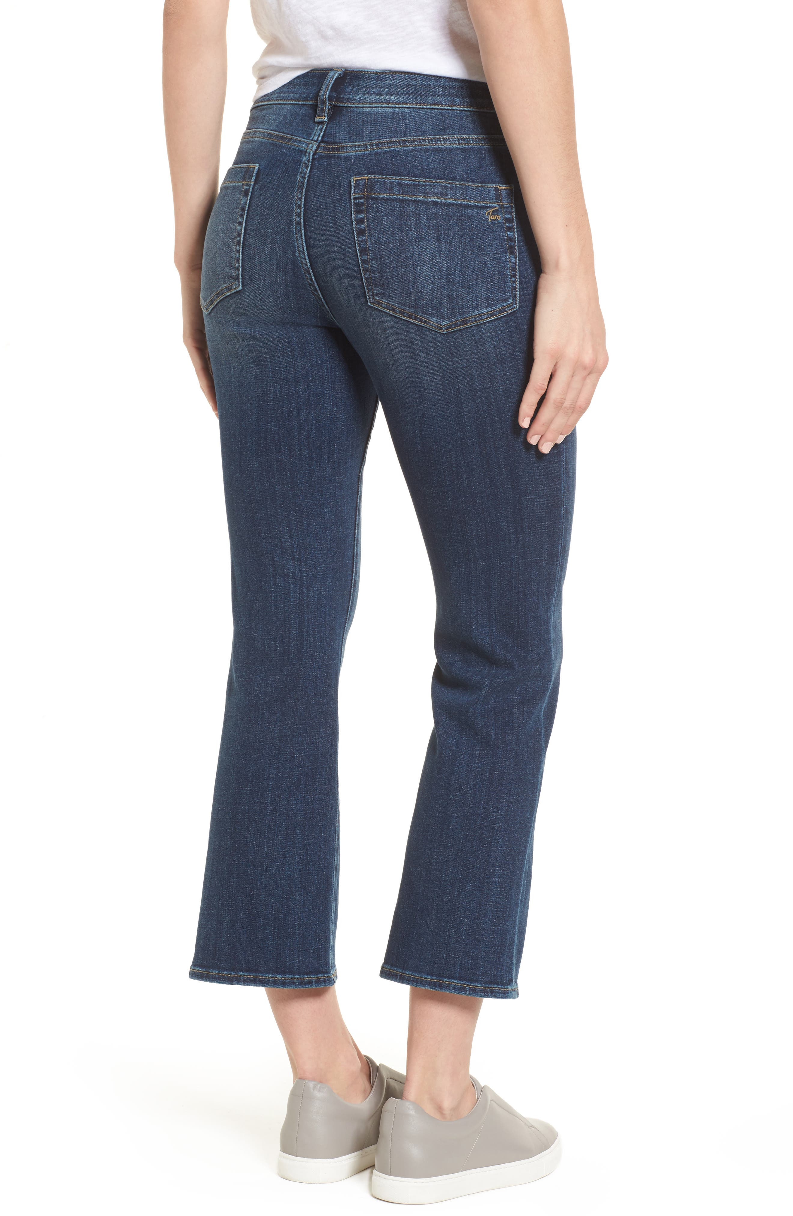 Two by Vince Camuto Cropped Flare Jeans,                             Alternate thumbnail 2, color,                             MID VINTAGE