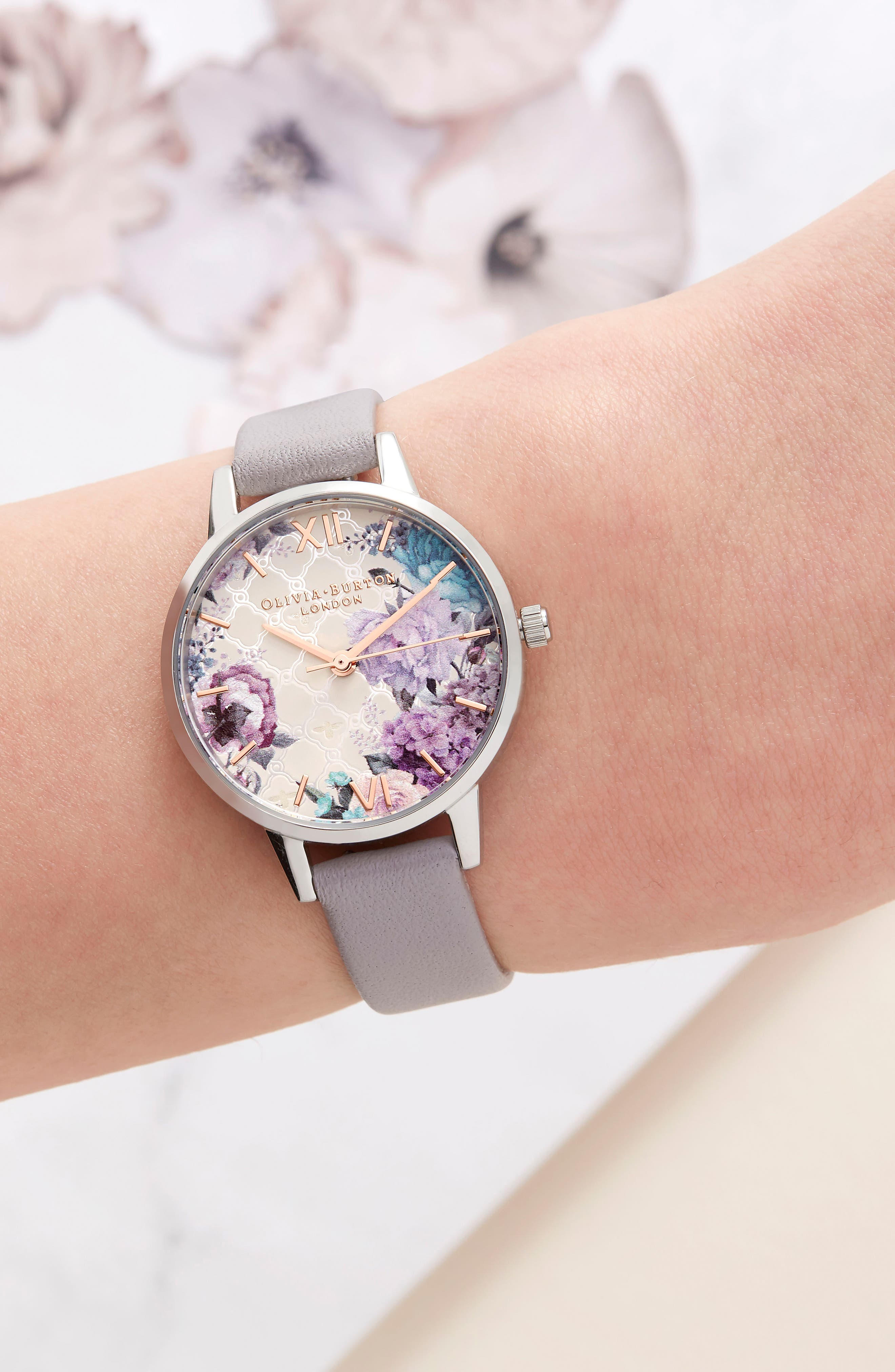 Glasshouse Leather Strap Watch, 30mm,                             Alternate thumbnail 4, color,                             GREY/ FLORAL/ SILVER