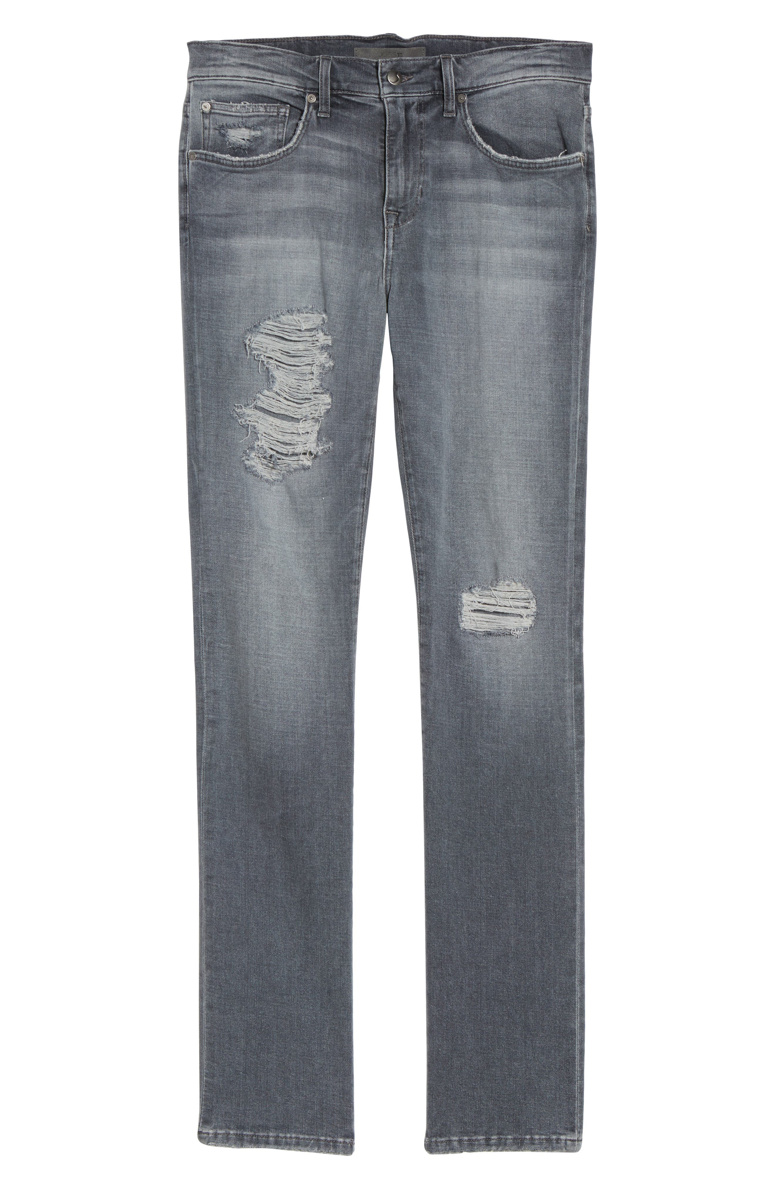 Brixton Distressed Slim Straight Fit Jeans,                             Alternate thumbnail 6, color,                             051