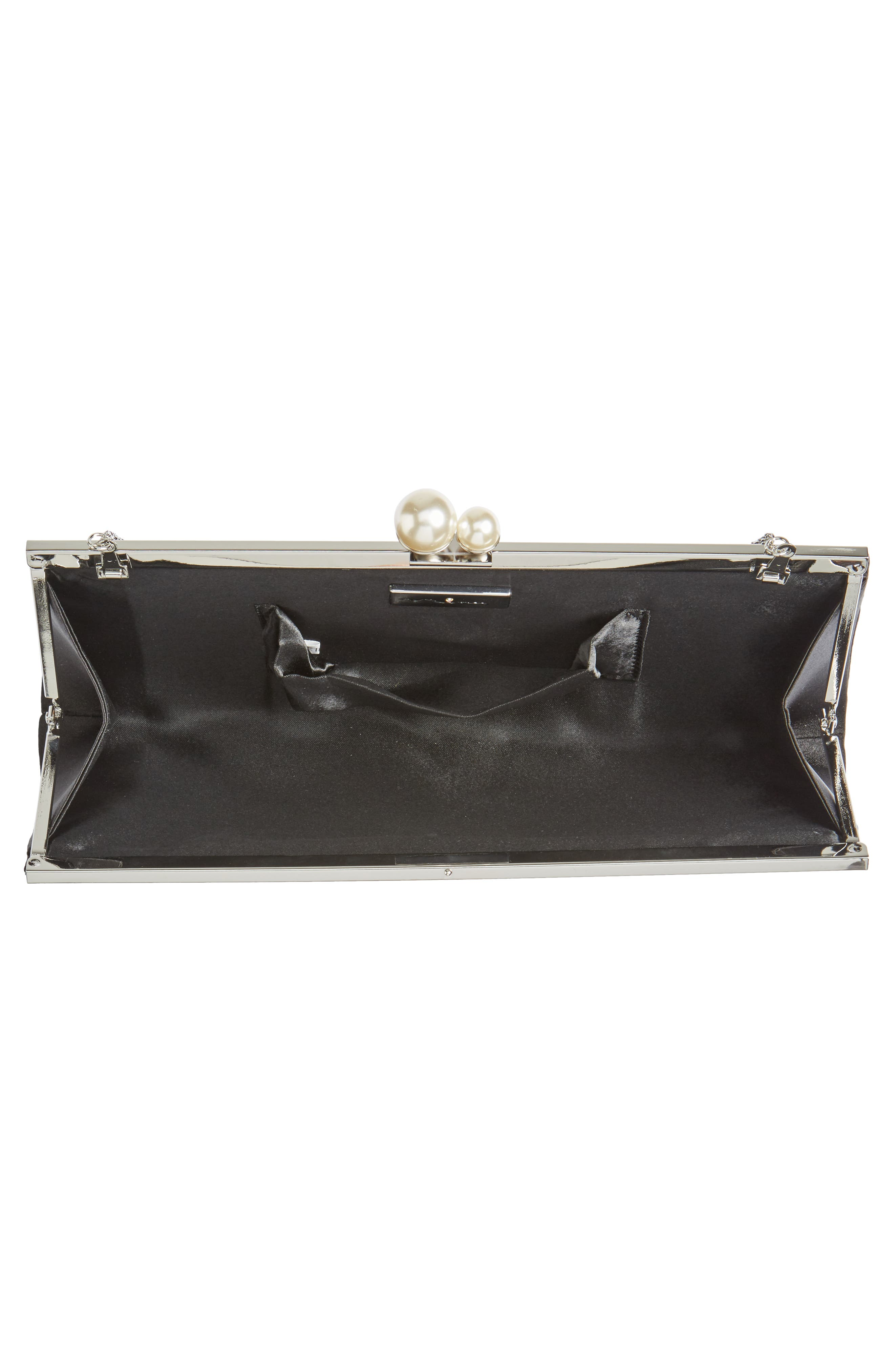 Anella Pleated Satin Frame Clutch,                             Alternate thumbnail 4, color,                             001