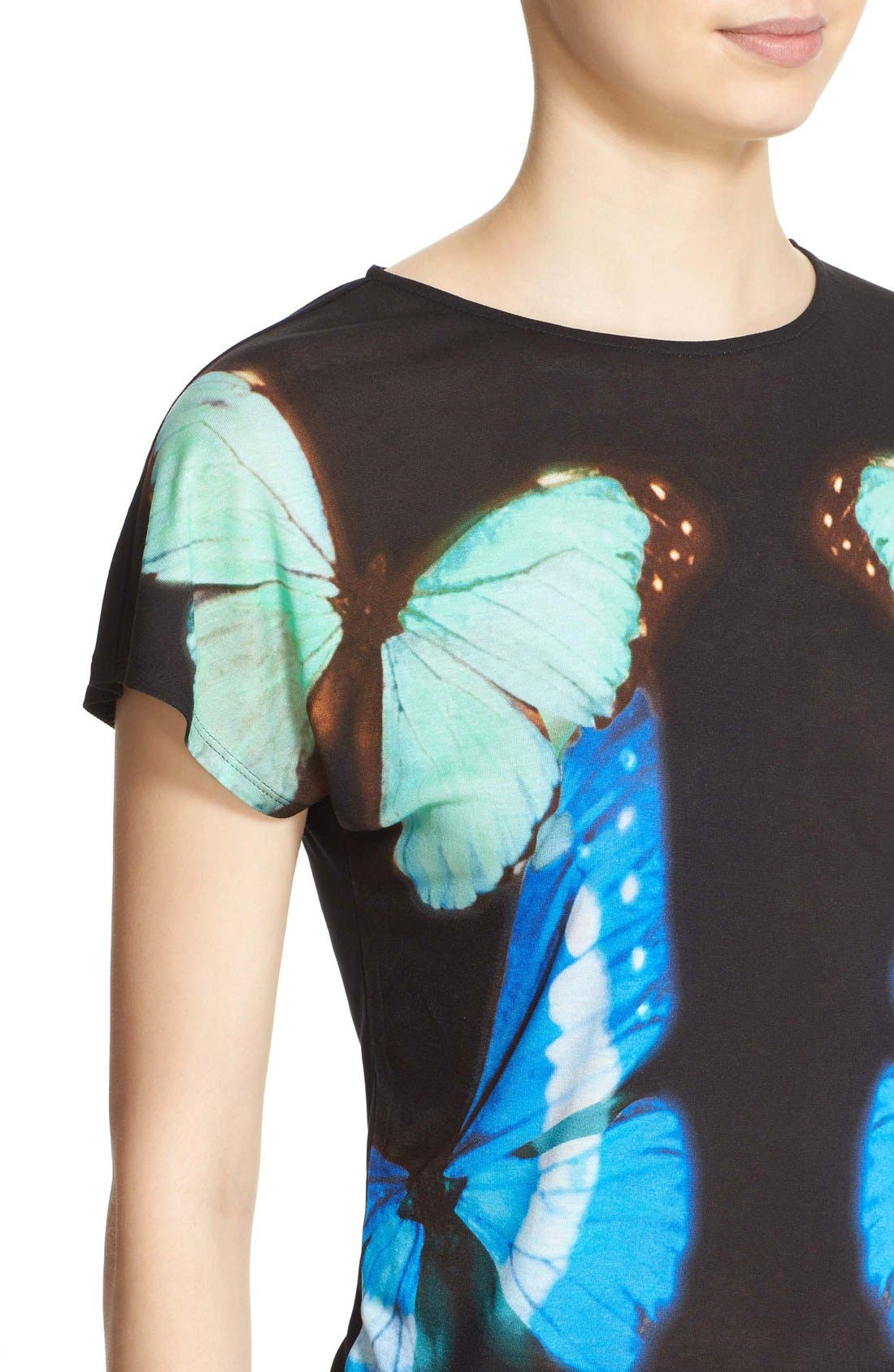 'Flutor - Butterfly Collective' Print Tee,                             Alternate thumbnail 4, color,                             001