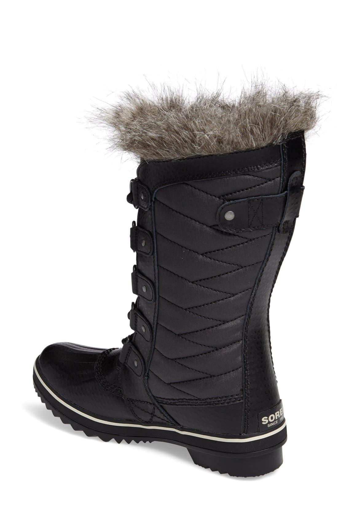 'Tofino II' Faux Fur Lined Waterproof Boot,                             Alternate thumbnail 4, color,                             BLACK